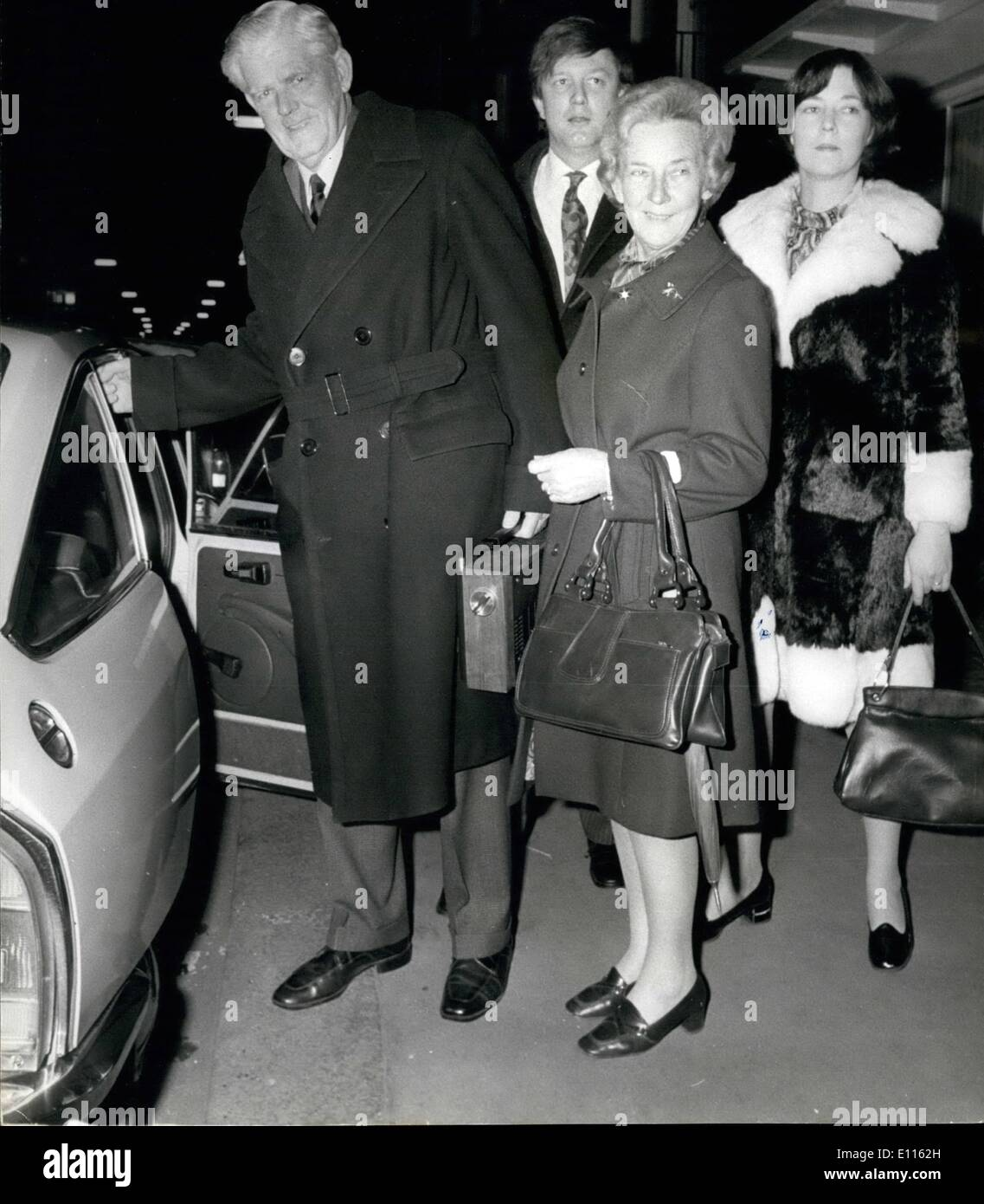 Feb. 02, 1976 - Mr Garfield Todd returns to Rhodesia: Mr. Garfield Todd, former Rhodesian Prime Minister who was freed from house arrest in Rhodesia to visit his daughter Judith, leaving her home in London last night to return to his farm after the three weeks allowed him. Returning with him was his wife Grace, and they were accompanied to Heathrow by their daughter and her husband Mr. Richard Acton. - Stock Image