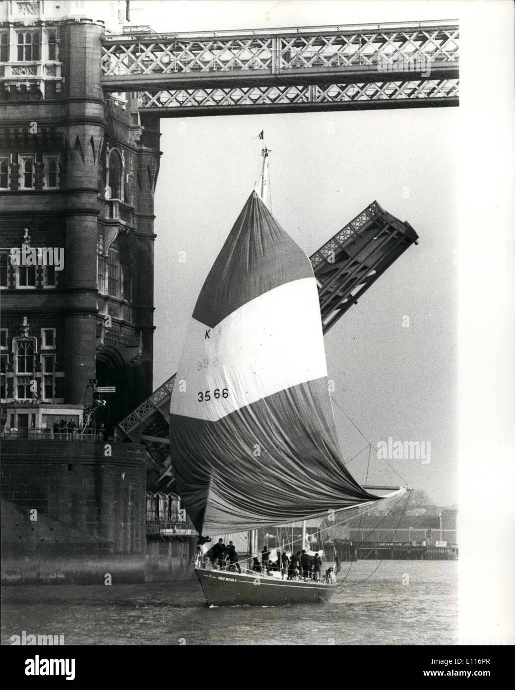 Mar. 03, 1976 - Ted Heath sails great Britian 11 up the Thames from Greenwich to Tower Pier.: Edward Heath MP, former leader of - Stock Image