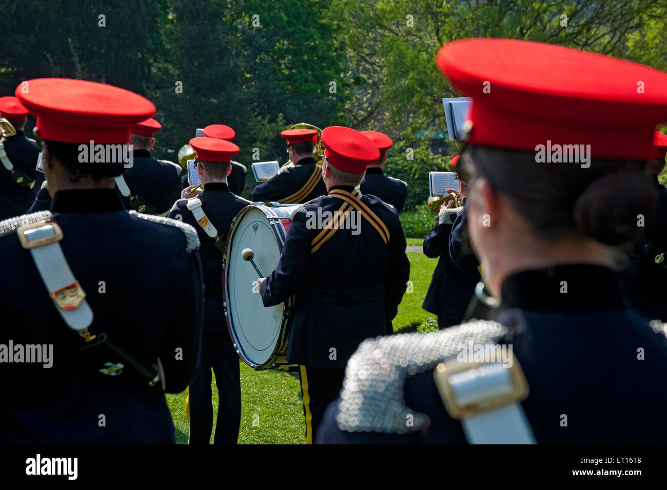 e2f880ad1dc The Army band of the Royal Armoured Corps playing in York North Yorkshire  England UK United