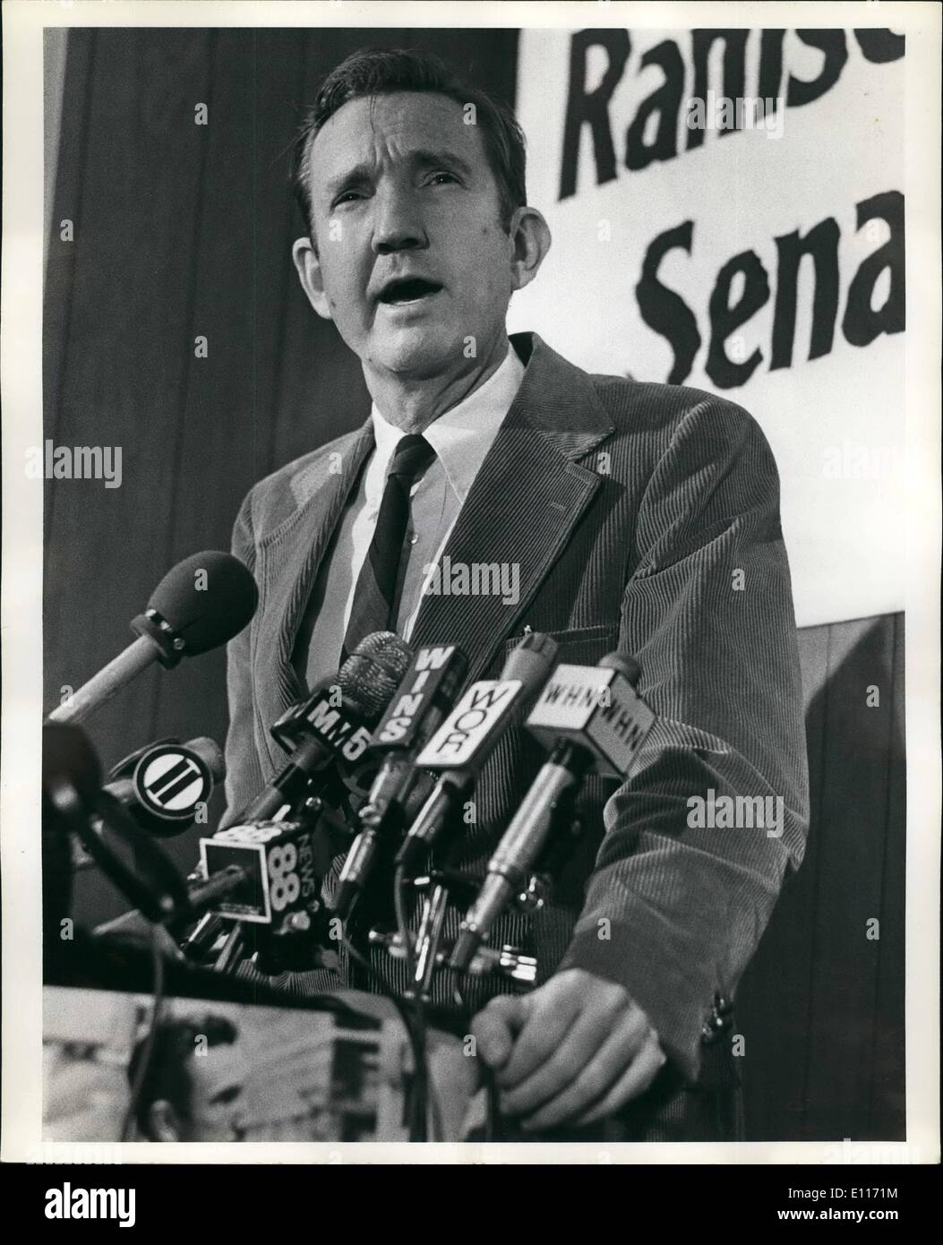 Mar. 03, 1976 - Former US Attorney General Ramsey Clark formally announcing his Candidacy for the US Senate seat from New York which is presently held James Buckley. Ms. Clark is a democrar. - Stock Image