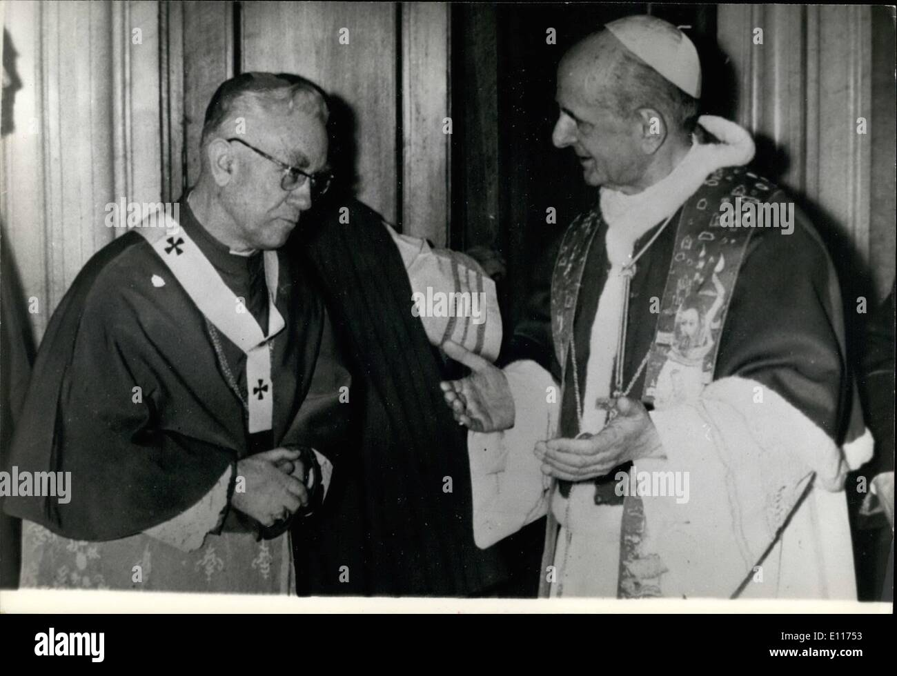 Mar. 03, 1976 - The new Primate of Hungary Mons. Laszlo Lekai, now in Rome, received by the Pope Paul VI the sacred pallium of his charge. - Stock Image
