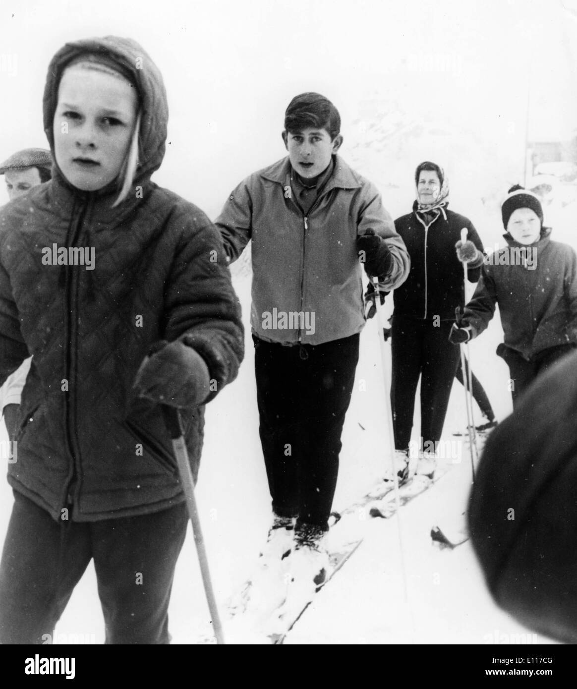 Prince Charles during a ski lesson - Stock Image