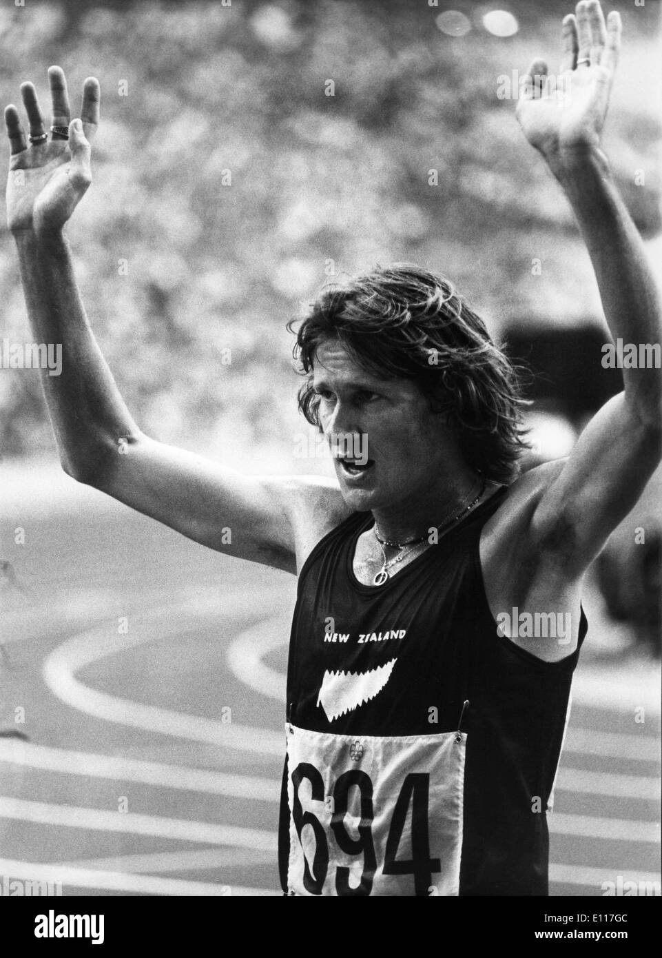 Mar 08, 1976; Montreal, Canada; Winner of the 1500 meter dash JOHN WALKER at the Olympic Games 1976 in Montreal.. - Stock Image