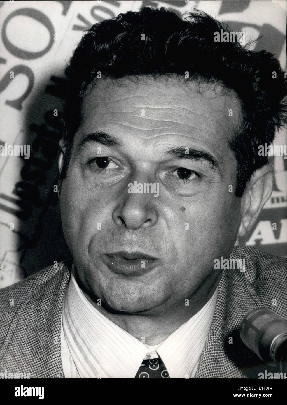 May 05, 1976 - Close up of Luciano Lama, secretary of the cgil, the greatest Italian Trade Union, seen during his press conference held at the Foreign Press association in Rome. - Stock Image