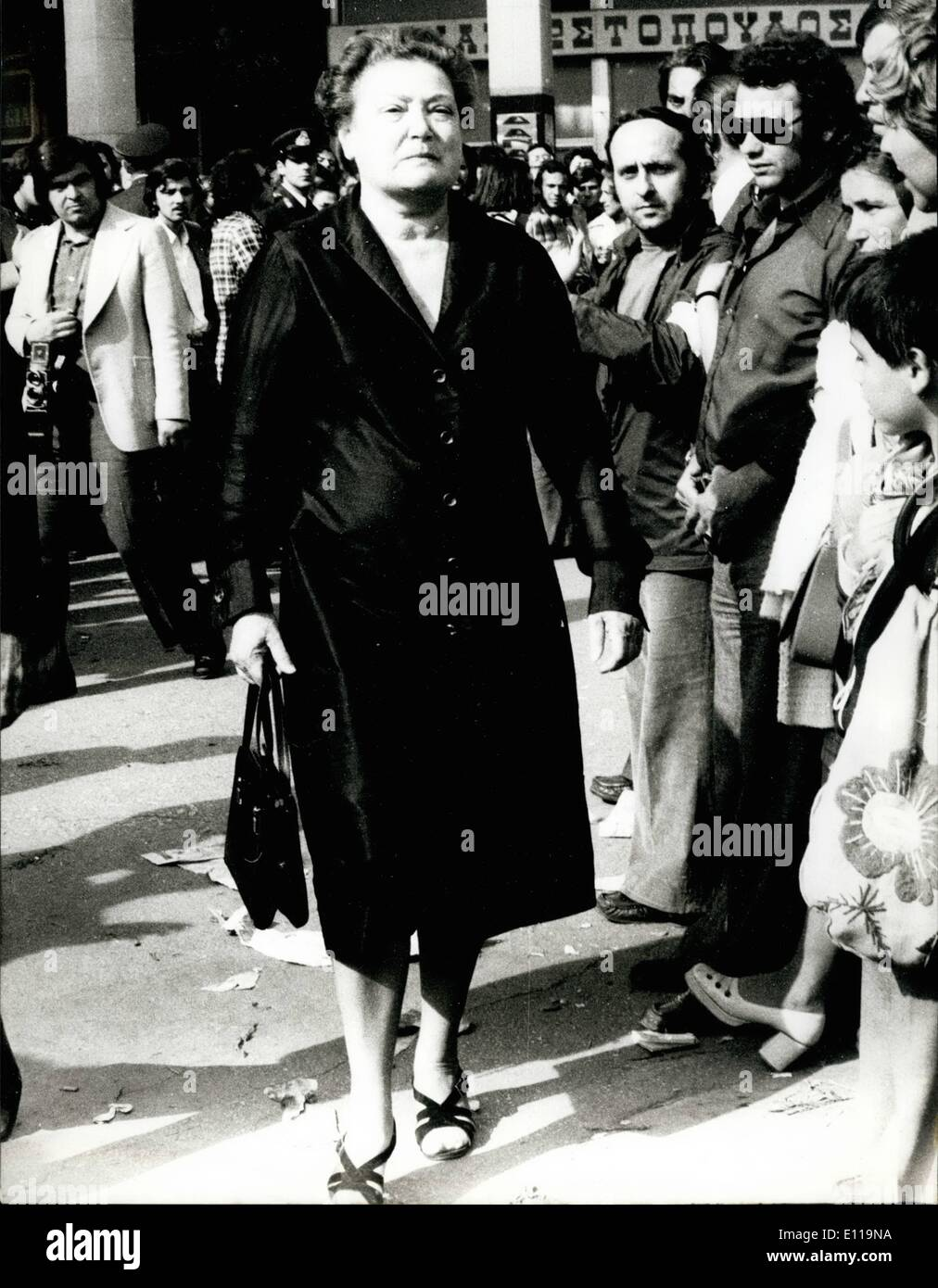 May 05, 1976 - Alexandros Papoulis funeral 8. Amalia Fleming, Lady. - Stock Image