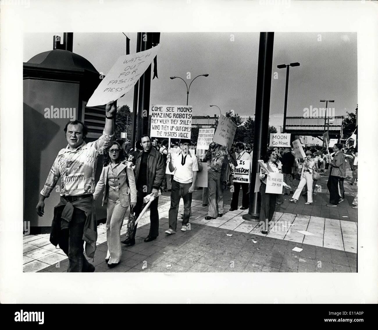 Jun. 01, 1976 - Demonstration against RW Moon's Unification church Yankee Stadium. - Stock Image