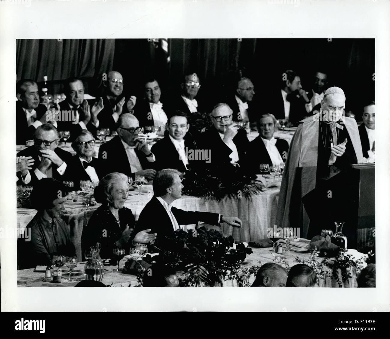 Oct. 10, 1976 - Mrs. Henry J. Gaisman between  and Rosalyn Cortes. Annual dinner of the Alfred E. Smith FOundation, Inc. Held at the New York Waldrof Astoria Hotel in New York City. - Stock Image