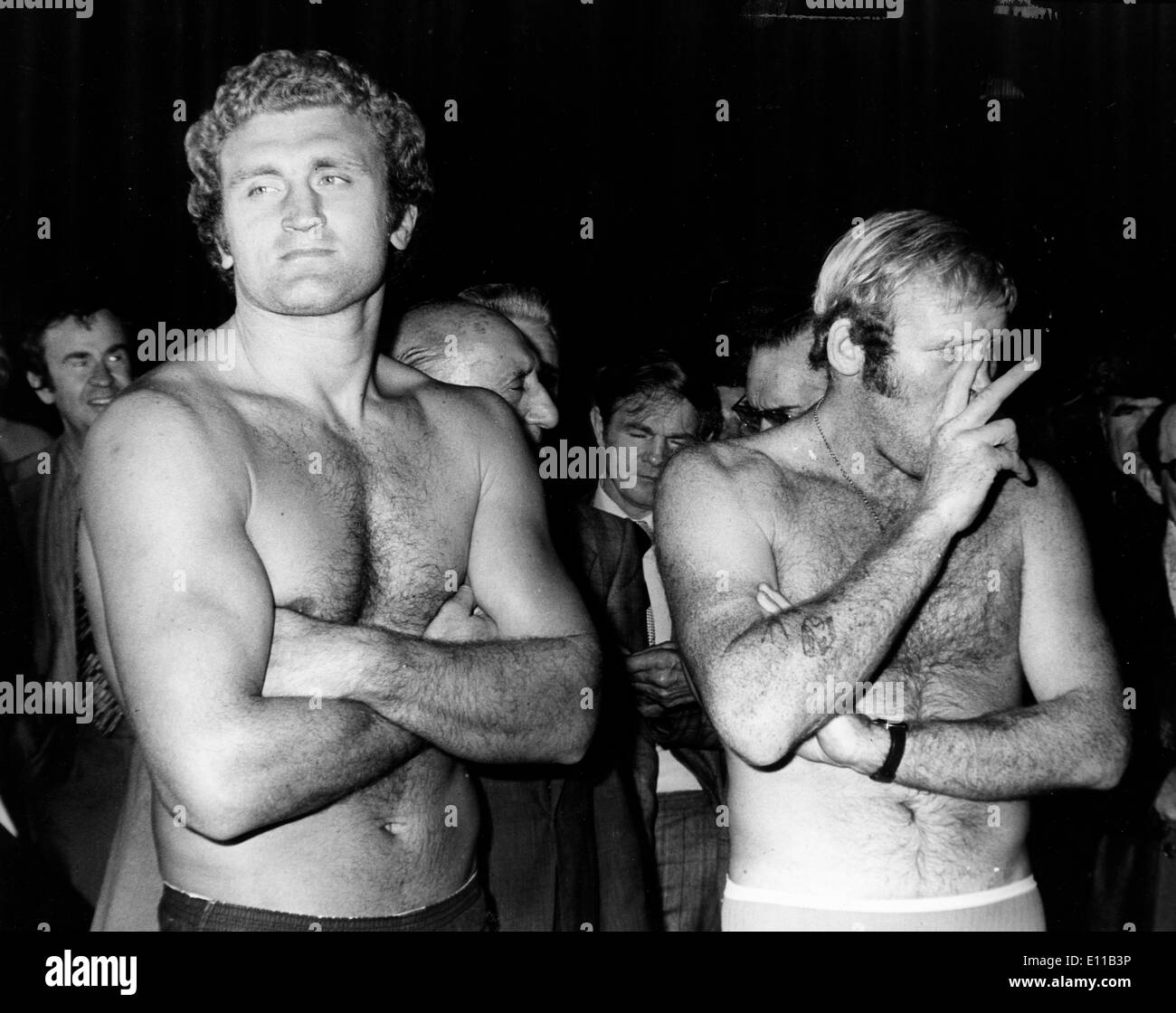 Oct 12, 1976; London, UK; Heavyweight Champion RICHARD DUNN during a weigh in with JOE BUGNER for tonights fight. (Credit - Stock Image