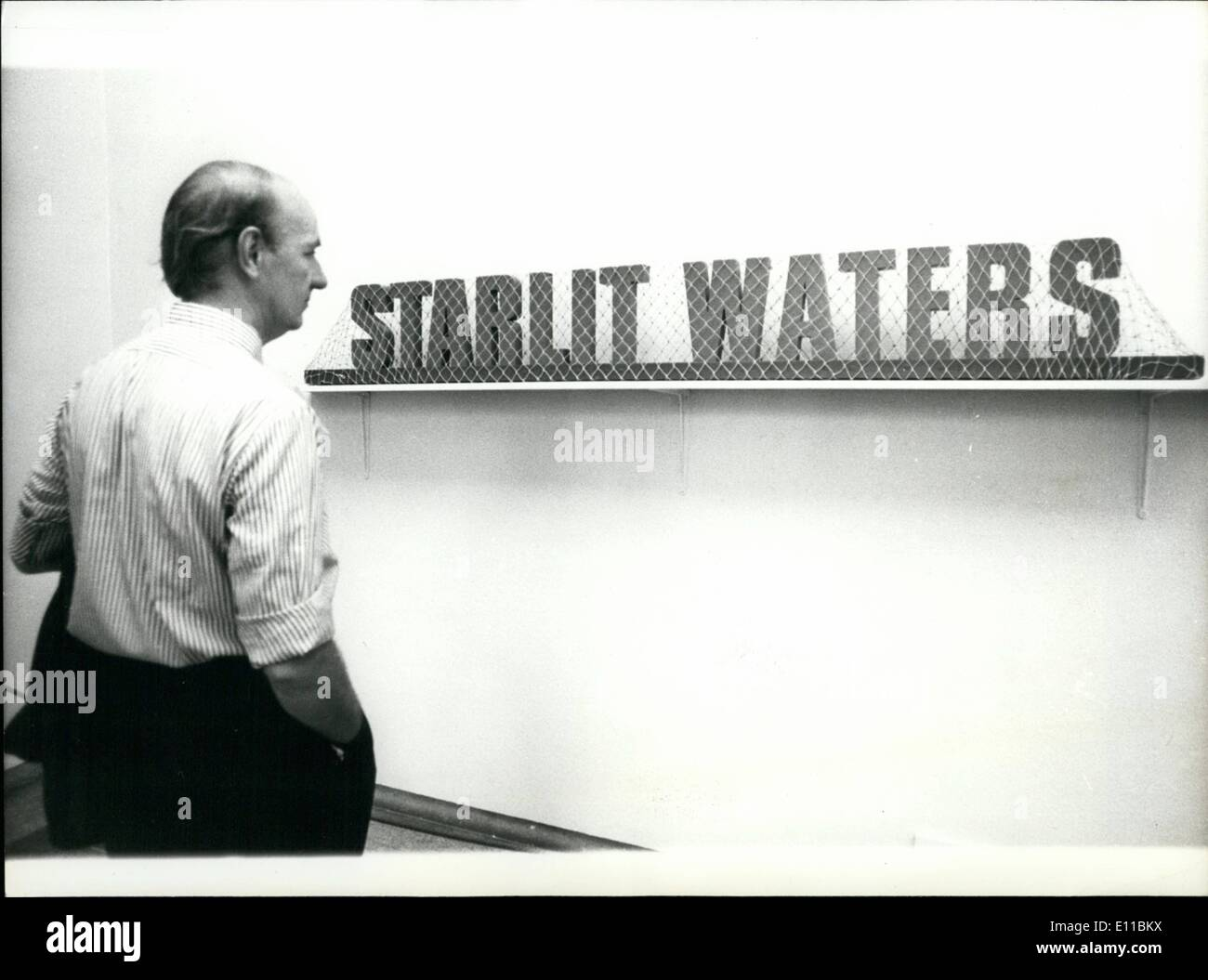 Aug. 08, 1976 - The Tate Gallery Pays £500 for two wooden''fire brick scandal'' when 120 bricks were bought as a work of art, the Tate Gallery has paid a reported £500 for two wooden words covered by a fishing net. The words ''Starlit Waters'', the name of a fishing boat, are painted green and stand on a dark blue base covered with orange netting. The exhibit is now on display in the gallery, among 45 other recent acquisitions, ''Starlit waters'' was constructed by Ian Hamilton Finlay,51, the Scottish poet, nine years ago when he started one of several creations - Stock Image