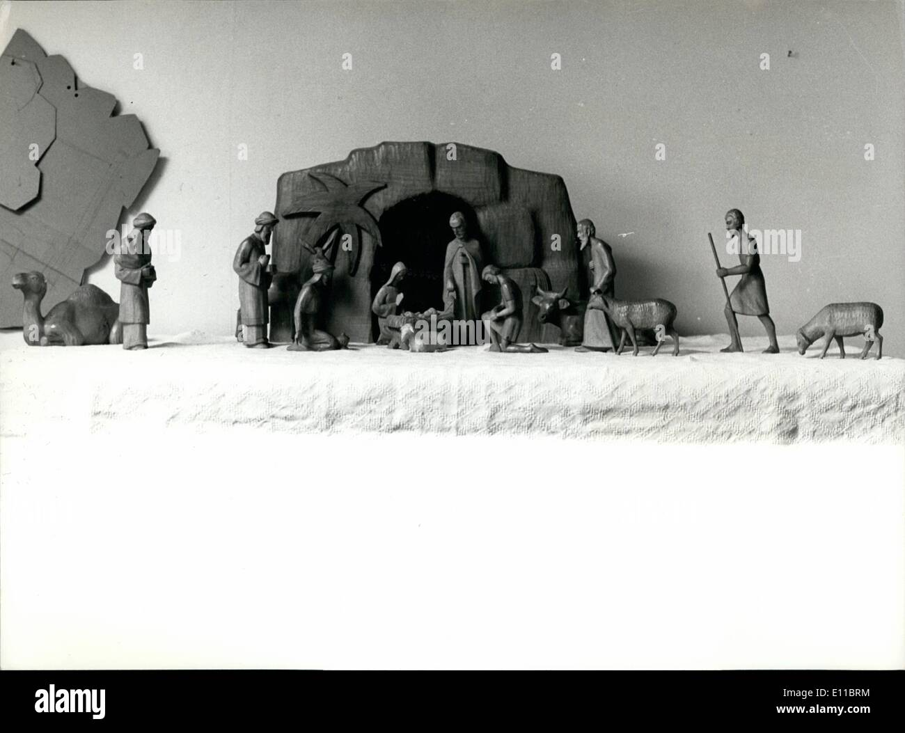 Dec. 12, 1976 - Wooden nativity figurines; Photo Shows One of nativity figurines made by Swiss wood carver Fritz Kehrli. - Stock Image
