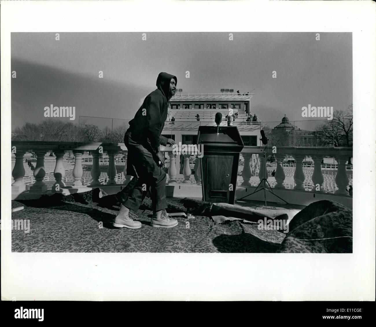 Jan. 01, 1977 - President Elect Jimmy Carter Inauguration Presidential guard stand and workers. ne Pictur - Stock Image
