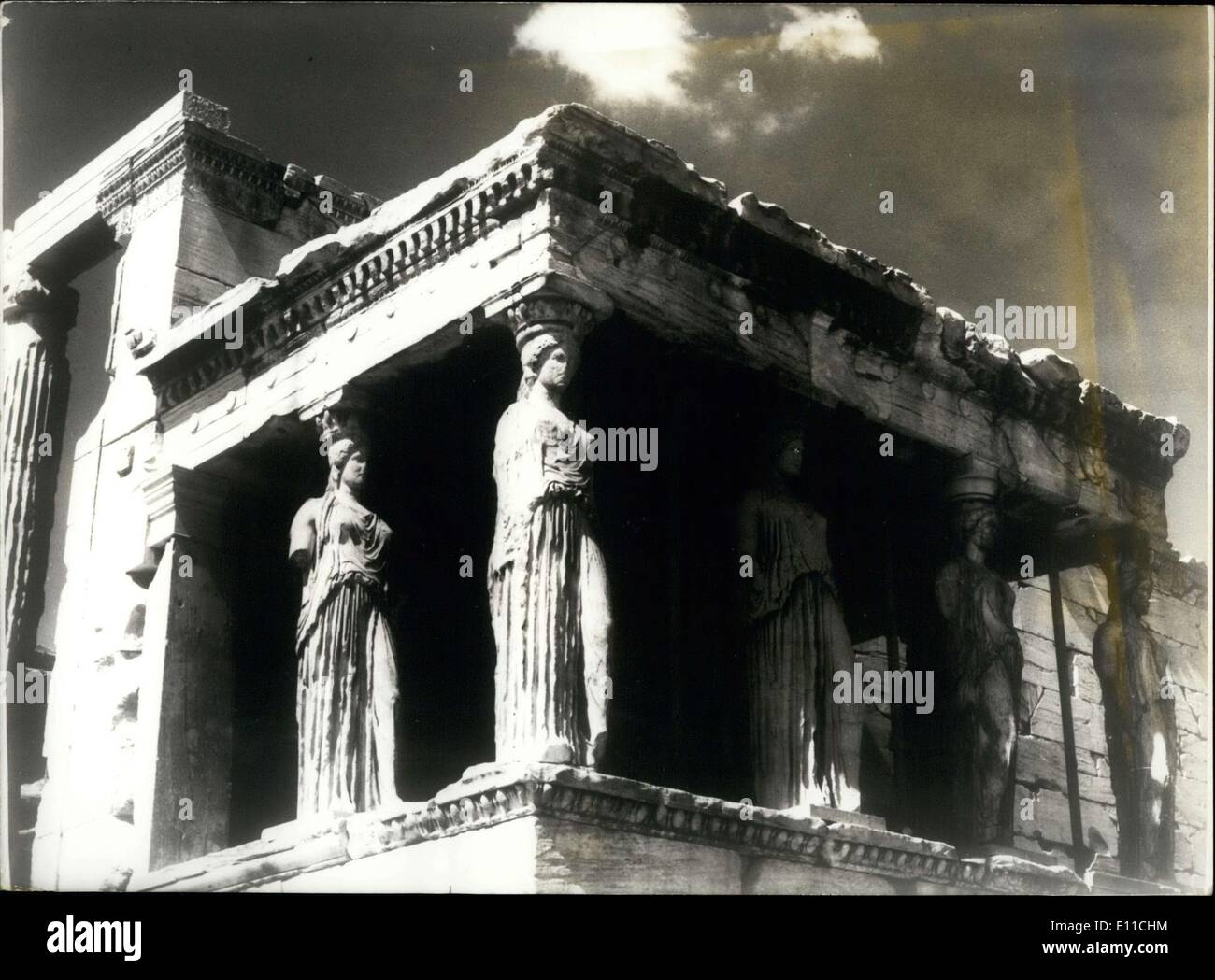 Jan. 14, 1977 - Caryatid Porch of the Erechtheion at the Acropolis in Athens .co - Stock Image