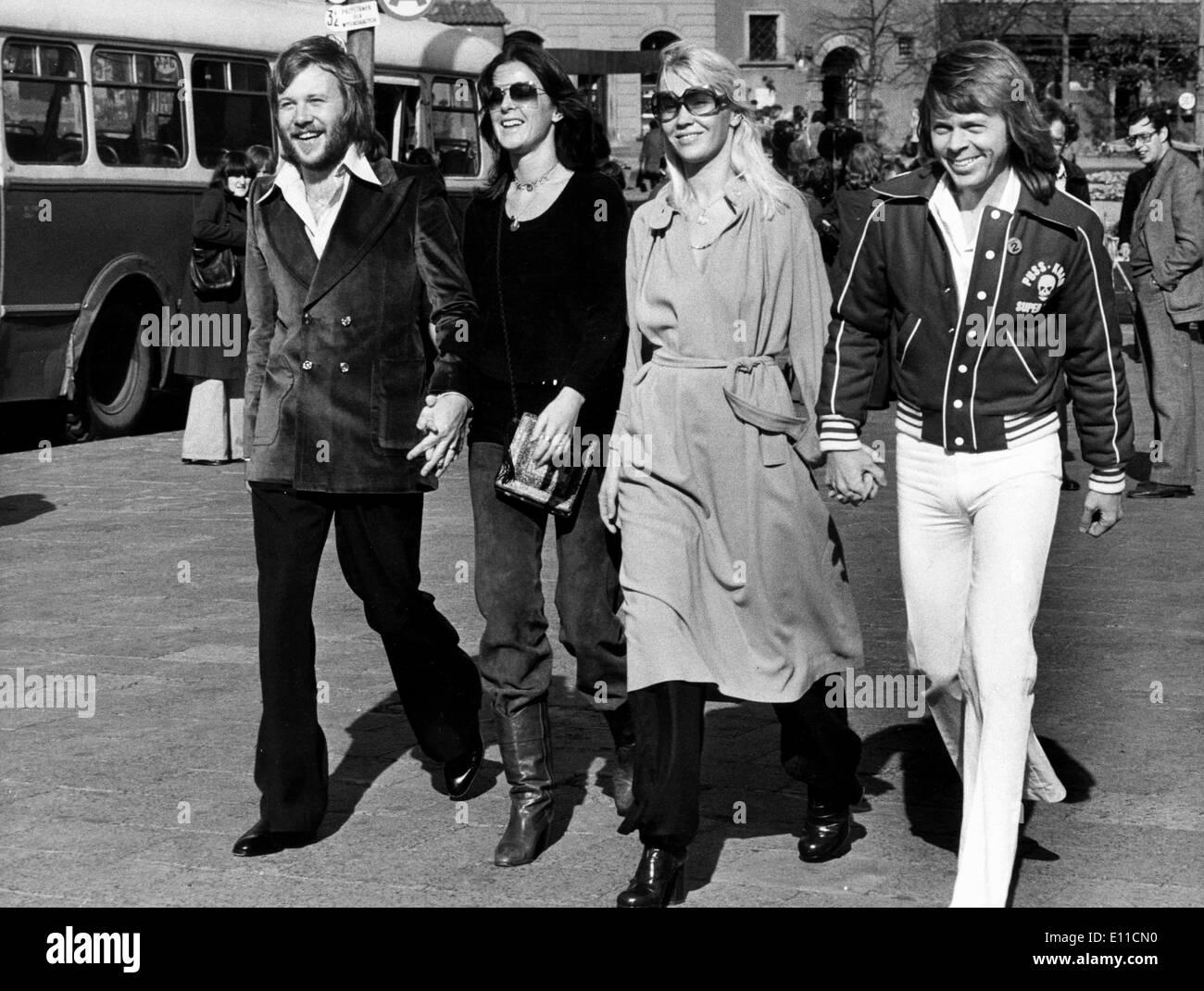 Pop group ABBA walks streets of Oslo Stock Photo