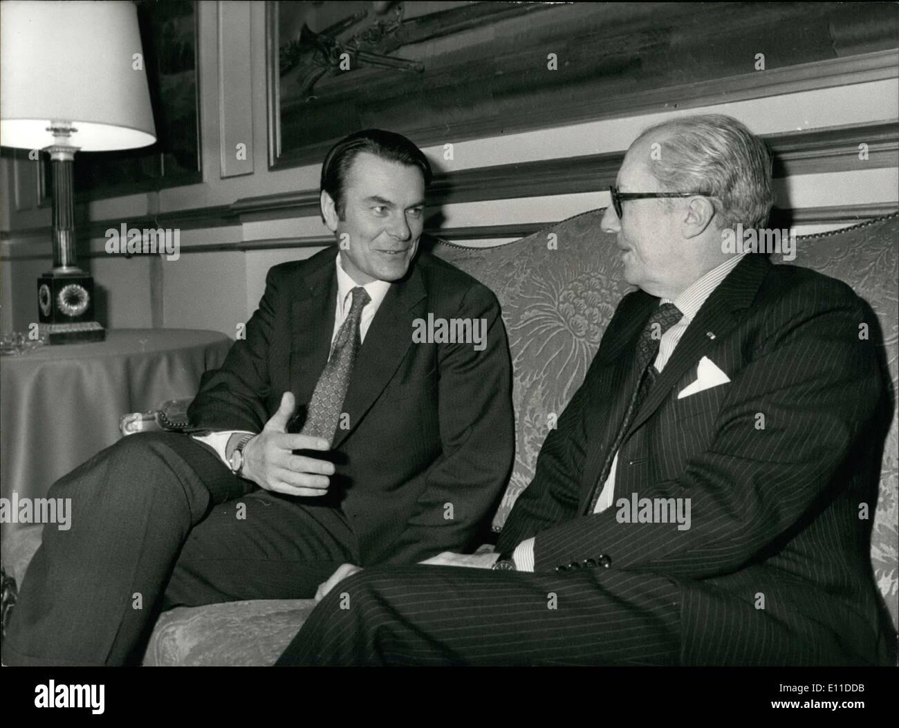 Feb. 26, 1977 - David Owen (Britian) & Louis de Guiringaud Meet Quai d'Orsay APRESS.co - Stock Image