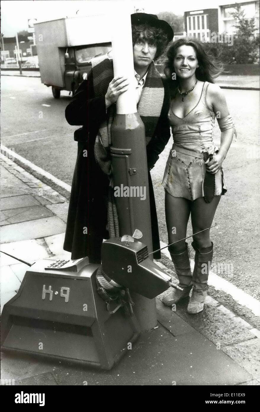 Oct. 10, 1977 - Doctor who gets a new assistant called ''K9'': because of the weight penalties, professor Marius of the centre for ALian Bio morphology the B1-A1 foundation was unable to bring his pet dog with him to earth so he built his data analyses computer into the form of a dog and Called it ''K9'', K9 has many canine characteristics he is loyal, brave and obedient. The schanical version of man's best friend has nuclear antennae for its ears, computer, print - out for a tongue, a radio antennze for his tail and a plasters gun instead of teeth. photo shows Dr - Stock Image