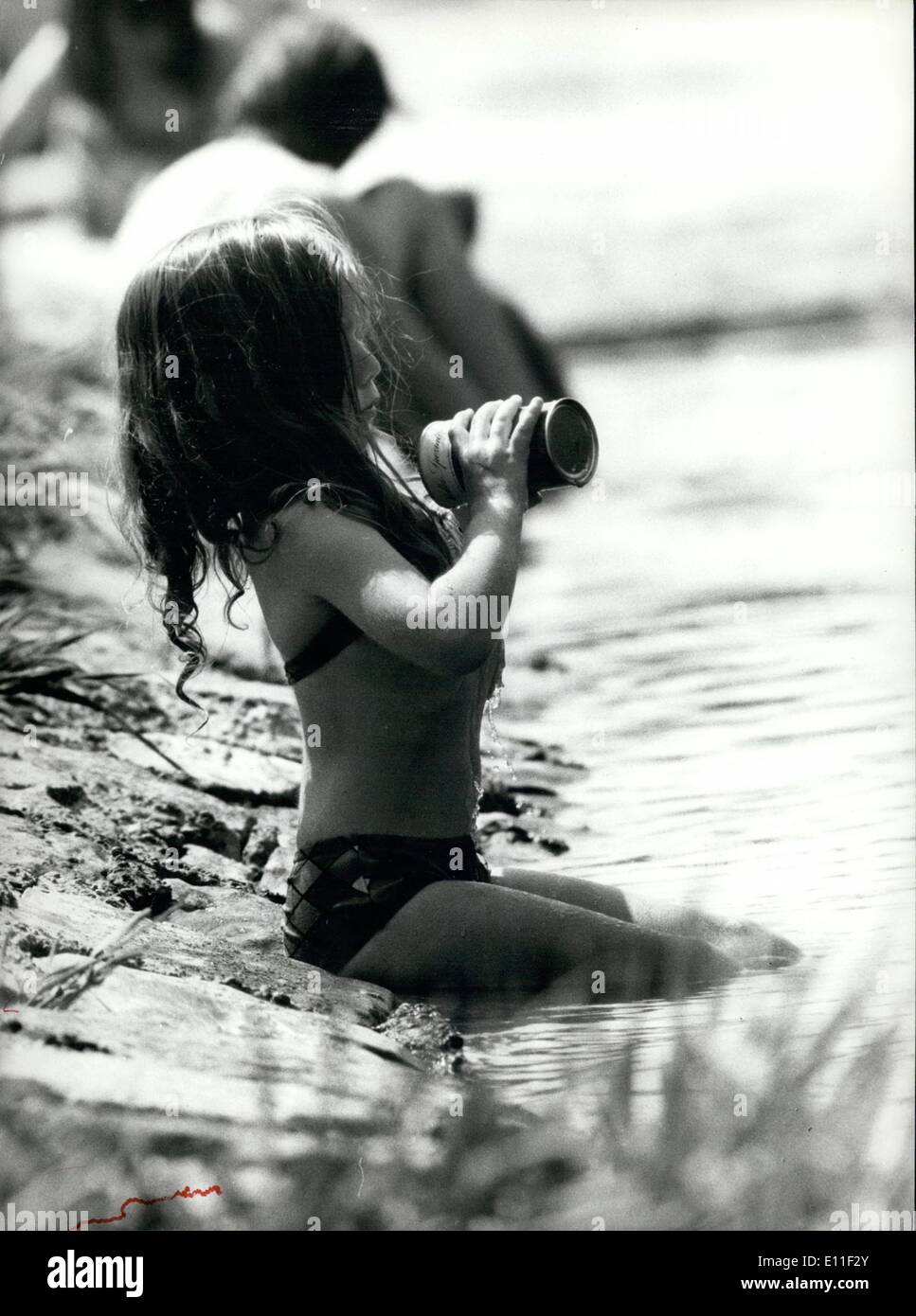 Jul. 07, 1977 - Self-confident young water-sprite: She seems to be very selfconfident, this little water-sprite, and also happy - Stock Image