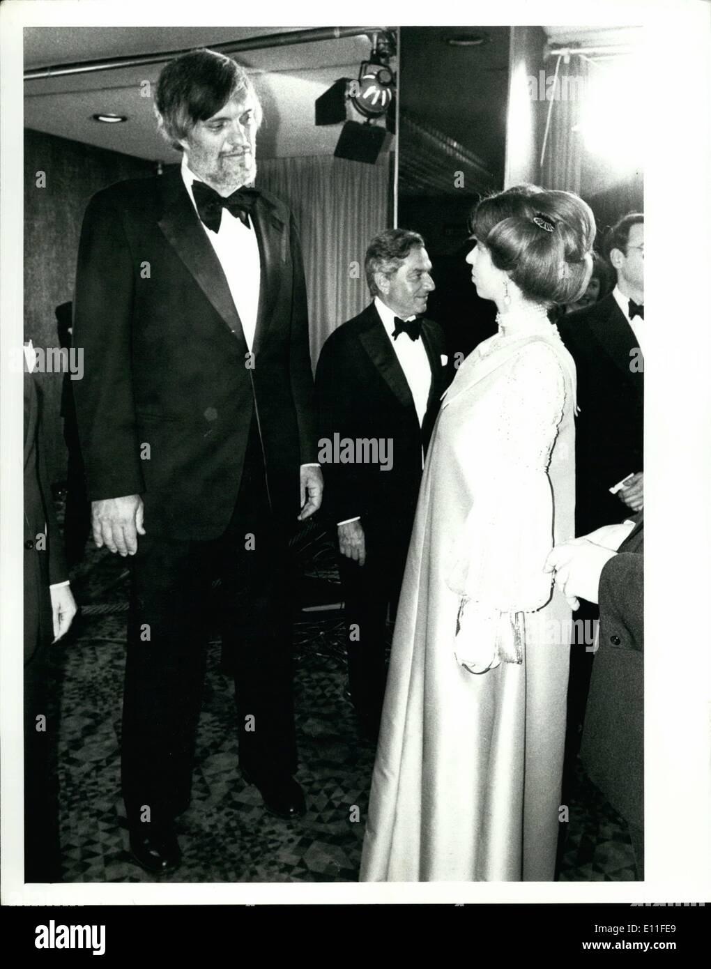 Jul. 07, 1977 - Pr., Anne & actor Richard Kiel review of ''The Spy Who Loved Me'' Bond film, Odeon, London. - Stock Image