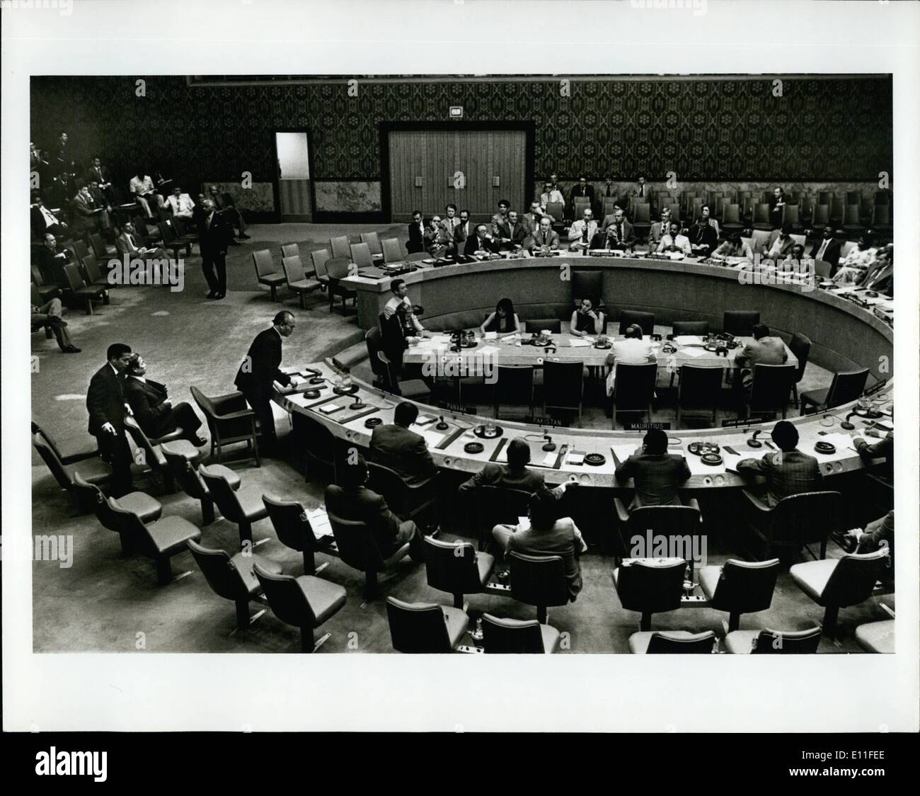 Jul. 07, 1977 - Perm. Observer of Vietnam Dinhi Ba Thi being seated of the UN Security Council Table after the vote ad Vietnam. - Stock Image