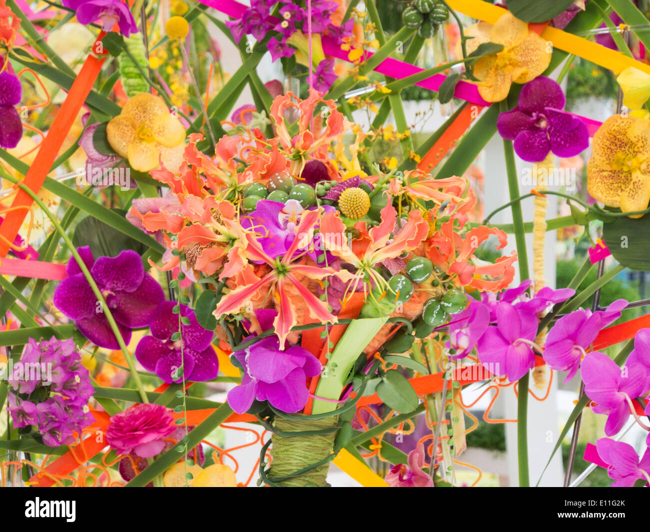 London, UK, 20th May 2014 RHS Chelsea Flower Show first day.  Interflora Floral design exhibit. - Stock Image