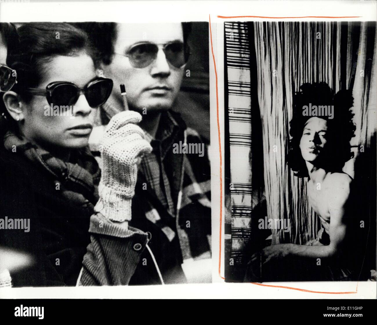Nov. 21, 1977 - Biance Jagger buys a photograph of her husband at Sotheby's sale.: Bianca Jagger attended Sotheby's auction rooms today to buy a photograph of her husband Mick Jagger which was among a collection of Photographs taken by Cecil Beaton in the sale today. The photograph of Mick Jagger was taken in 1970 during the filming of ''Performance''. Photo shows (left) bianca Jagger bidding for the photograph during the sale today, she paid ?200 for it. (right) The photograph by Cecil beaton of Mick jagger taken in 1970. - Stock Image