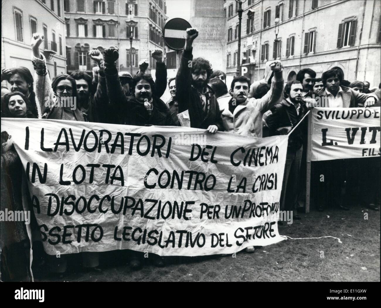 Dec. 12, 1977 - Italian Film Industry Crisis: Italian film production; currently at its lowest ebb, and the falling off of cinema attendance, blamed on television, has resulted in demonstration by workers at the studios becoming unemployed. They are demanding that the Italian government subsidize the cinema industry as they demonstrate outside the Chamber of Deputies in Rome. - Stock Image