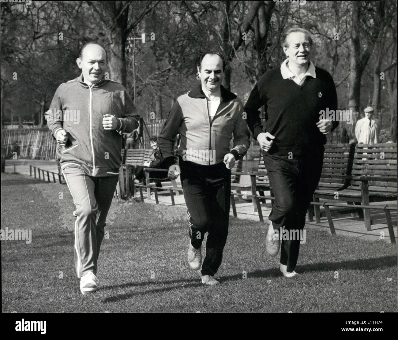 Mar. 03, 1978 - Scotland's Heaith Minister Harry Ewing Leads Volunteers In National Fitness Campaign: Harry Ewing MP, Scottish under secretary of state for health, one of the leading participants of a new campaign to encourage Scots to take more exercise. Its called 'Fit For Life' mounted by the Scottish sports council. Photo shows Seen during a run in St Jame's Park today. L-R Mr Harry Ewing, MP, Under secretary of state for health, Mr Teddy Taylor, MP, shadow secretary of state for Scotland, and Mr Hector Monro, MP, Shadow Scottish Minister for sport. - Stock Image