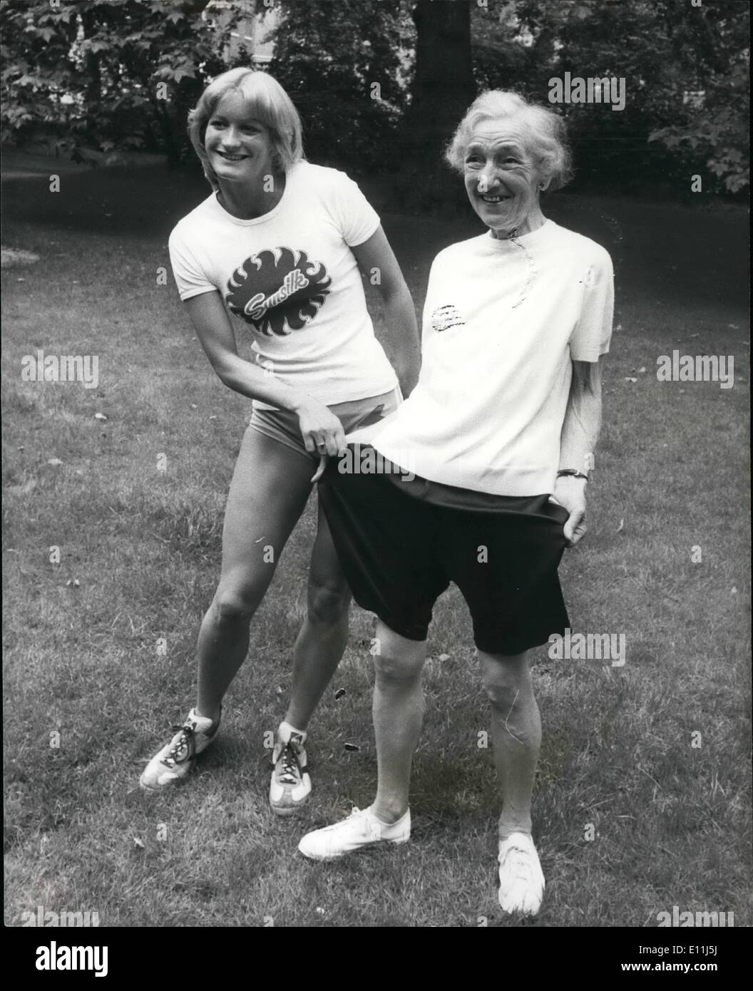 Jul. 07, 1978 - The Long and the Short of it: What a difference 50 years make- Vera Searle 76 - years - old Chairman Stock Photo