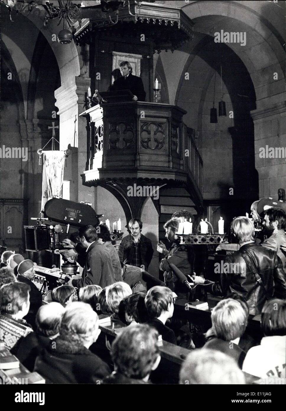 Apr. 06, 1978 - Swiss reformer Zwingli from 1500 in Zurich of today. Wednesday and Thursday at Zurich's famous Fraumunster-church, where swiss reformer Ulrich Zwingli once helt his sermons there was Zwingli again on the pulpit. Zwingli is given by the actor Mathias Harich(on the pulpit) in filming the novel ''Ursula''by famous swiss author Gottfried Keller. The film. directed by Egon Gunther (GDR) , is a vo-production of swiss and GDR-TV. - Stock Image