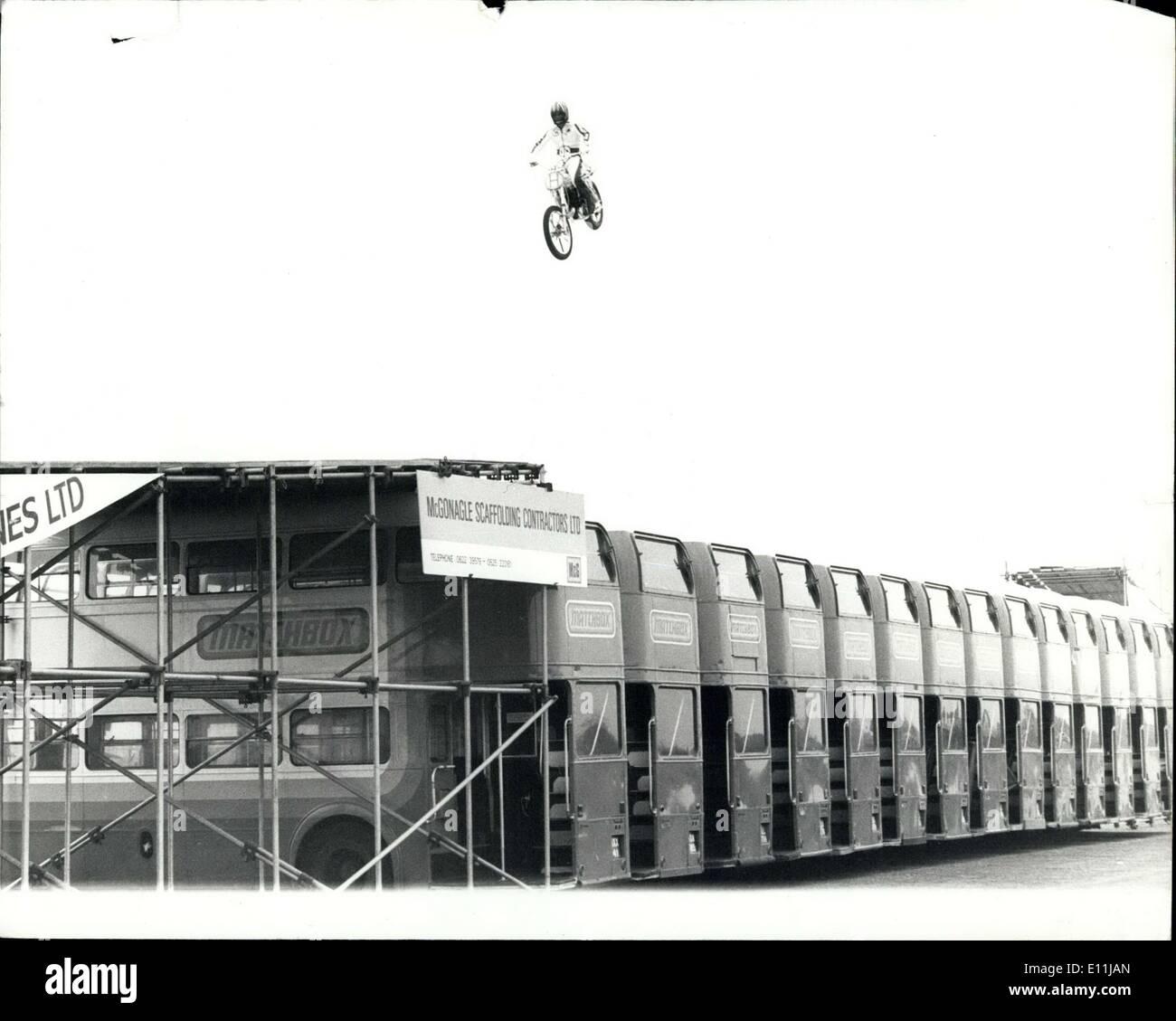 Apr. 08, 1978 - Eddie Kidd breaks world record motor cycle jump: Cockney stunt ace 18 year old Eddie Kidd, today Stock Photo