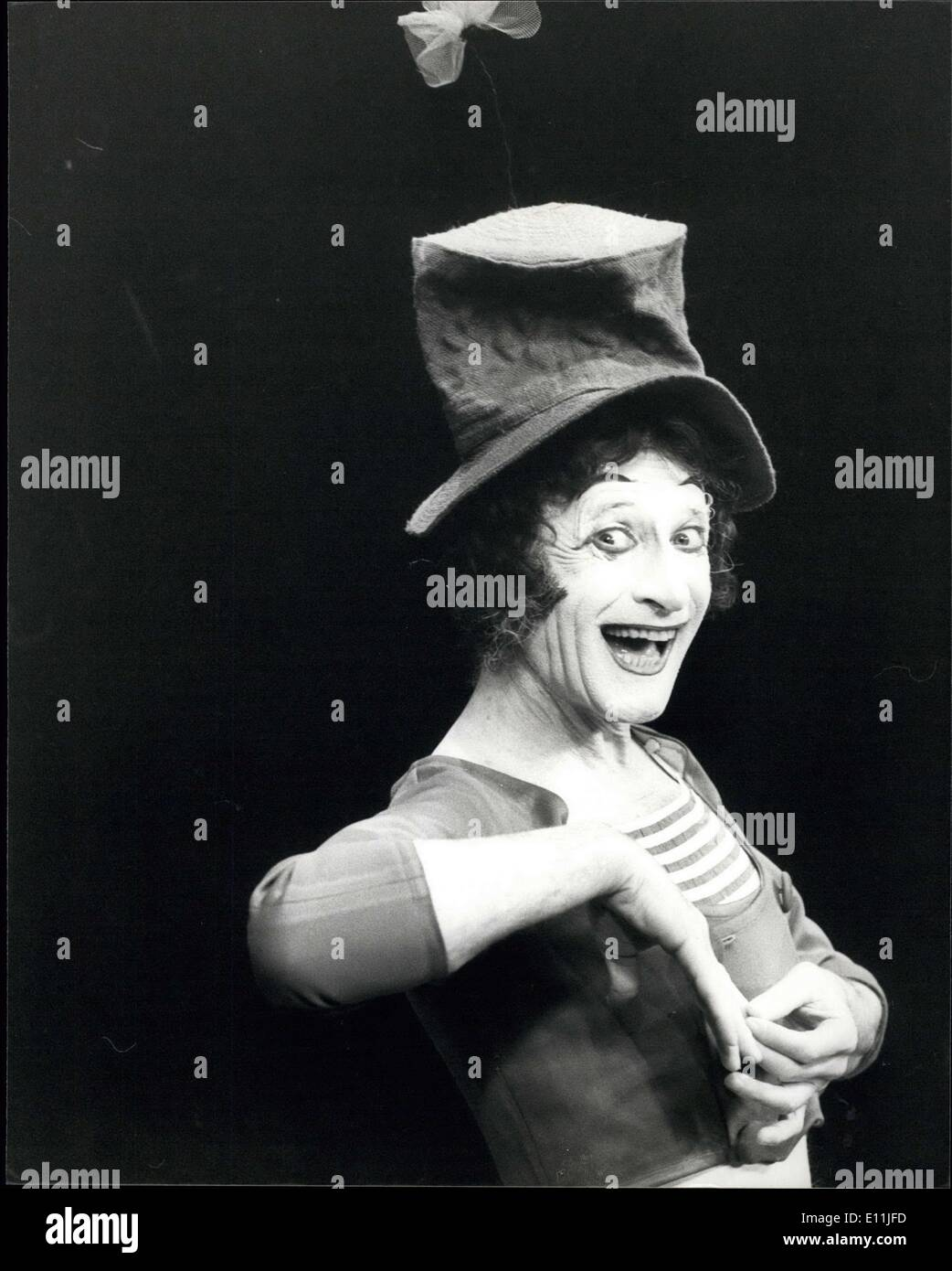 Jul. 31, 1978 - Marcel Marceau returns to Sadler?s Wells ? Marcel Marceau, the world famous French mime returns to Sadler?s Wells Theatre in London for a short season. This will be Marceau?s third visit to Sadler?s Wells after a highly successful tour of America. Photo Shows: Marcel Marceau seen during his act on the stage during the photo call today. AM/Keystone - Stock Image