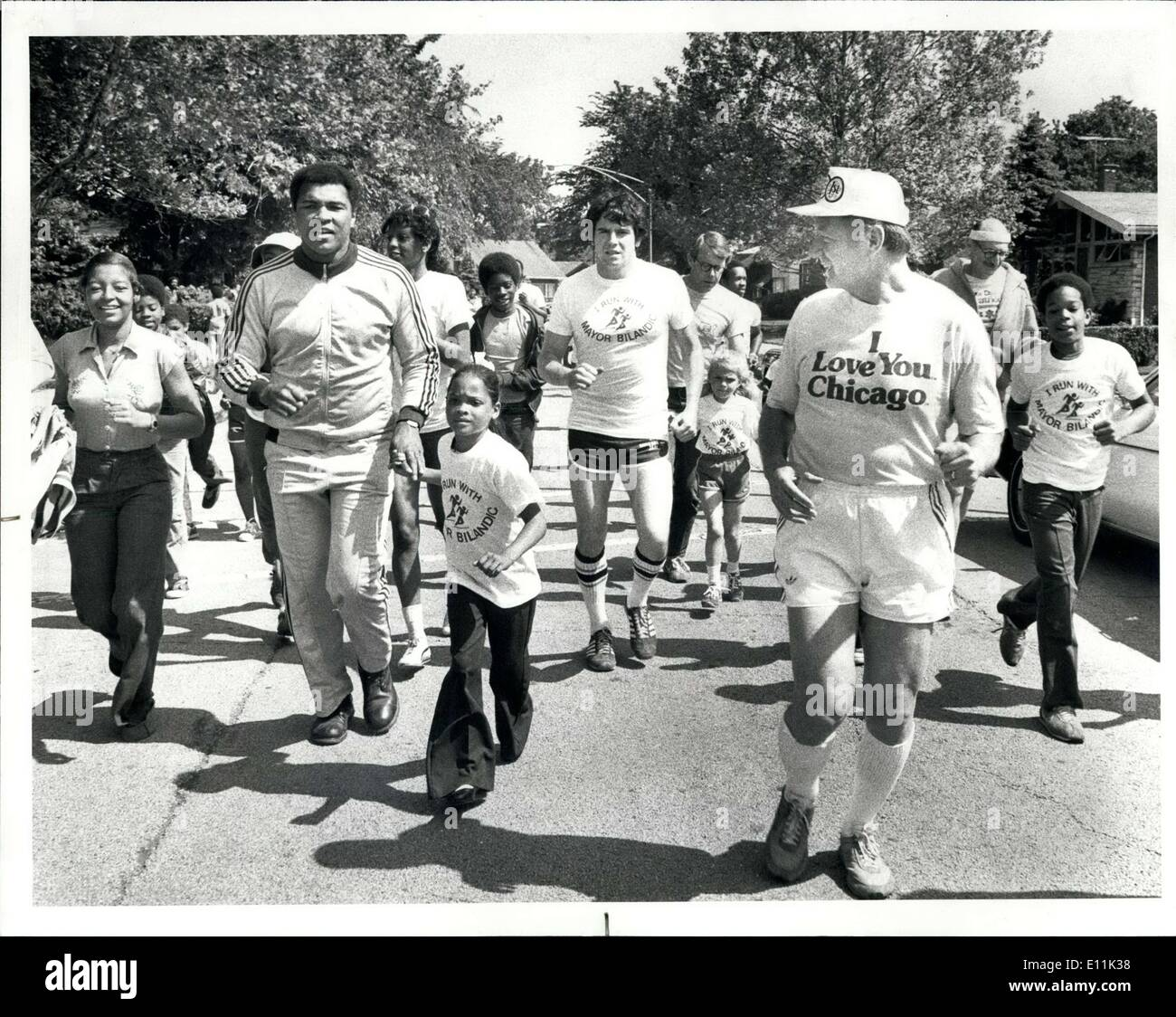 Jun. 03, 1978 - Jim Frost Avalon Park: people running with Muhammad Ali and Mayor Bilandic at Avalon Park as part of the mayor's summer youth marathon program in which the mayor runs 1 1/2 miles with youths 14 and under. - Stock Image