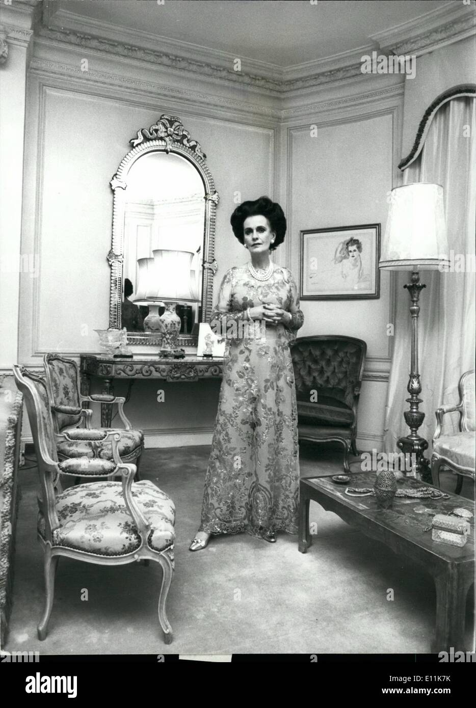 Sep. 09, 1978 - The Duchess is surrounded by the surrounded by the splendid French furniture of her drawing room.: - Stock Image