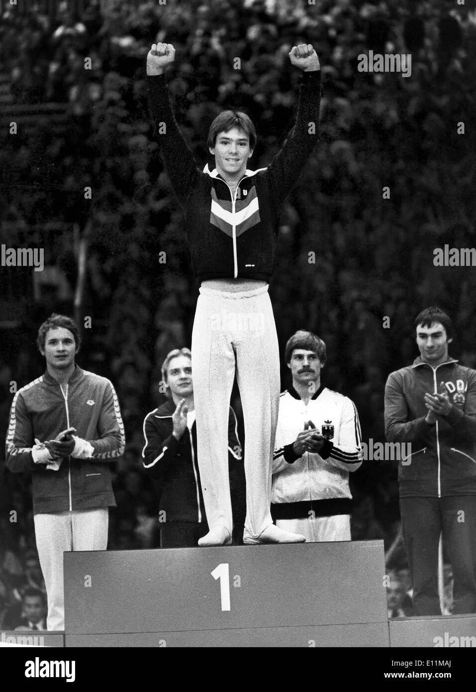 Oct 30, 1978; Strasbourg, France; American Gymnastic champion, KURT THOMAS, wins the medal for the floor displays.. - Stock Image