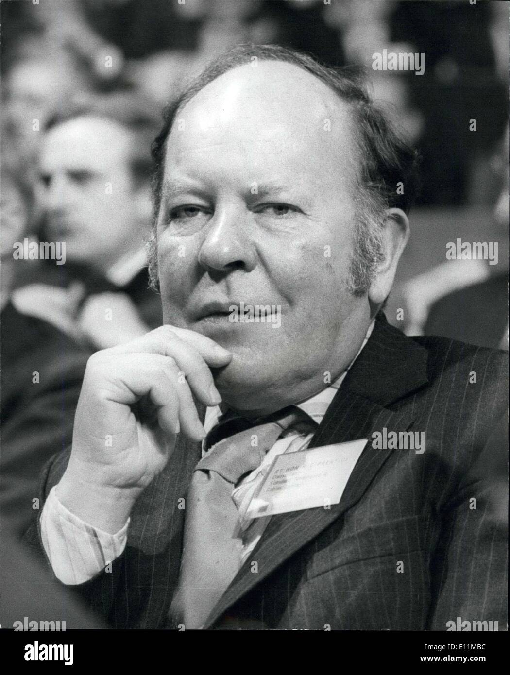 Nov. 07, 1978 - Conference of the Confederation of British Industry at Brighton: The Confederation of British Industry Conference opened at Brighton yesterday. Photo shows Mr. Reg Prentice, MP for Newham East at the CBI conference yesterday at Brighton. - Stock Image