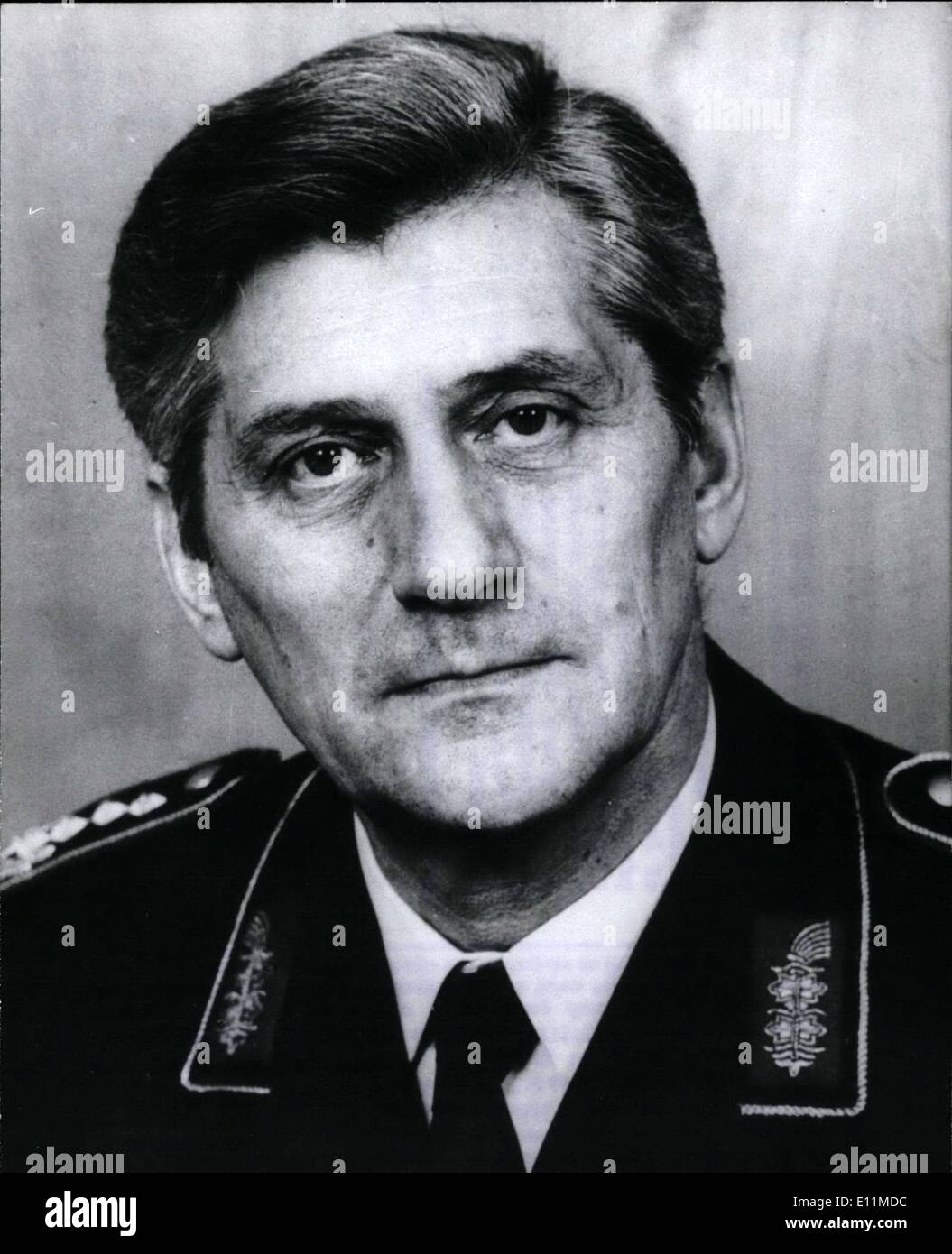 Nov. 11, 1978 - German General Harald Wust Retired; On November 28, 1978 Harald Wust picture , the rank first General in the Ge - Stock Image