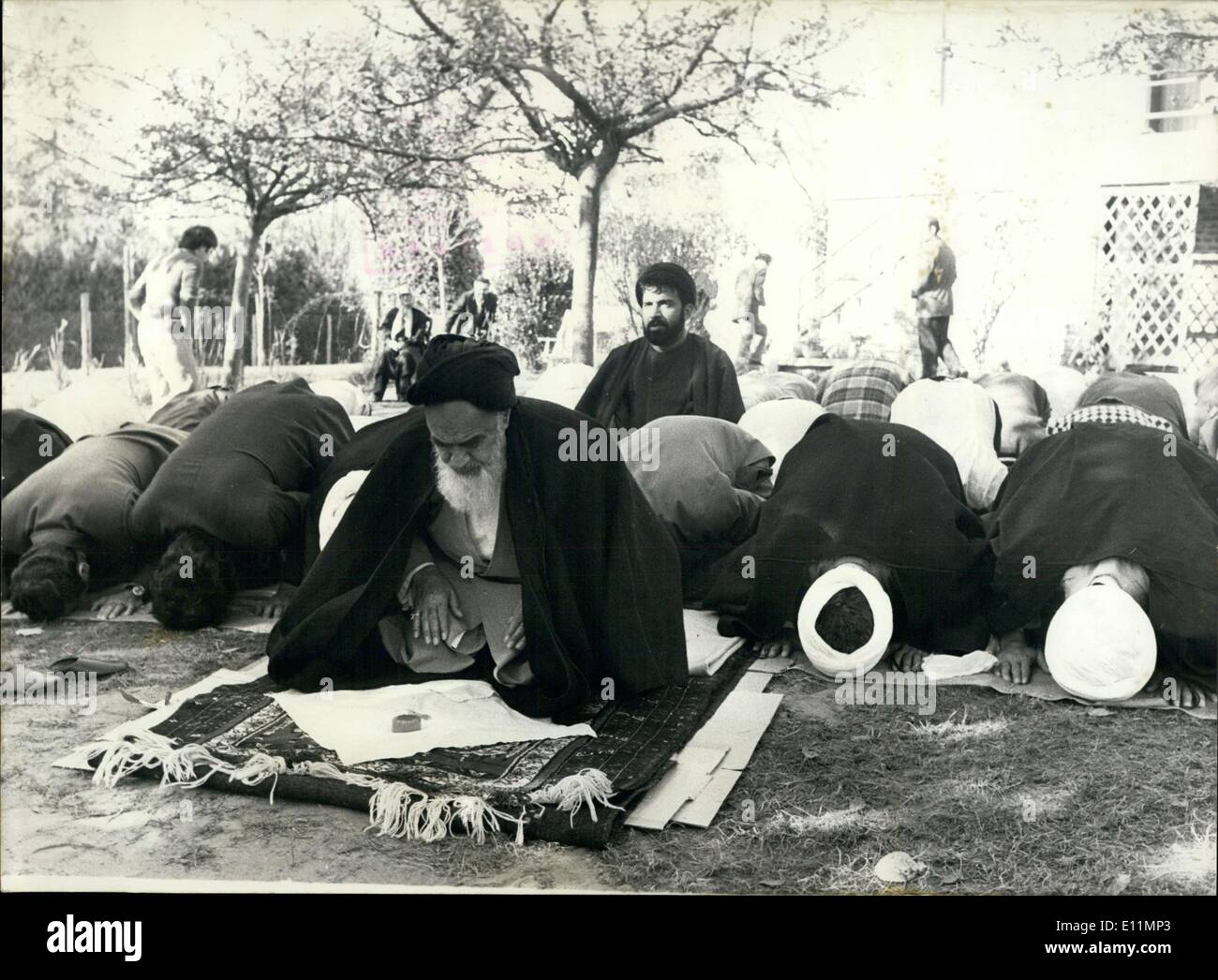 Dec. 04, 1978 - The Ayatollah Kohemeini and others at prayer in France Stock Photo