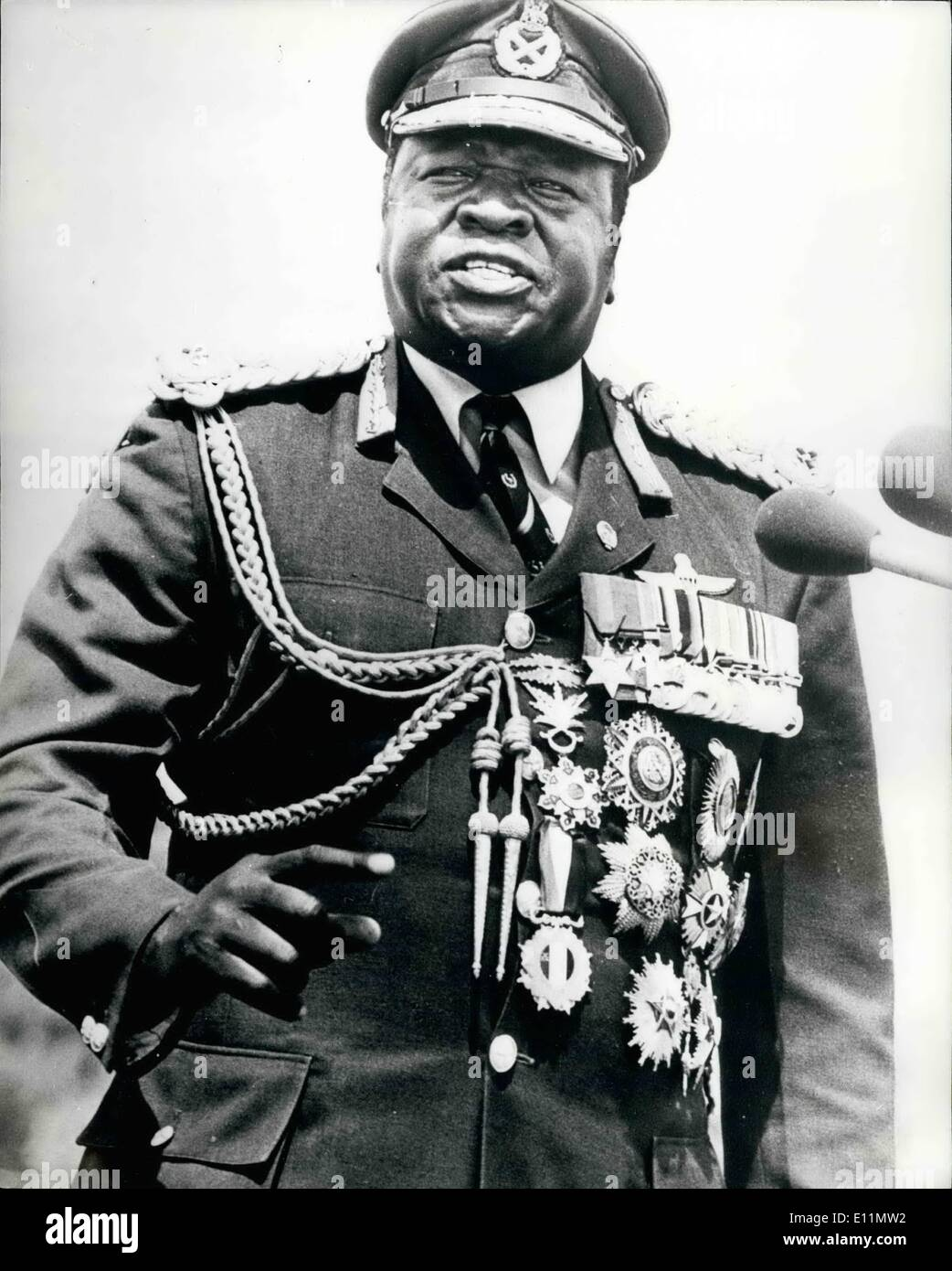 Mar. 03, 1979 - INVADING TANKS CUT OFF AMIN It was reported today at President Amin and some of his Army officers had been trapped in Entebbe by Tanzanian tanks. The tanks are said to control the road to the Ugandan capital of Kampala 21 miles away. PHOTO SHOWS President Amin dressed in his field Marshall's uniform ready to do battle with the invaders. - Stock Image