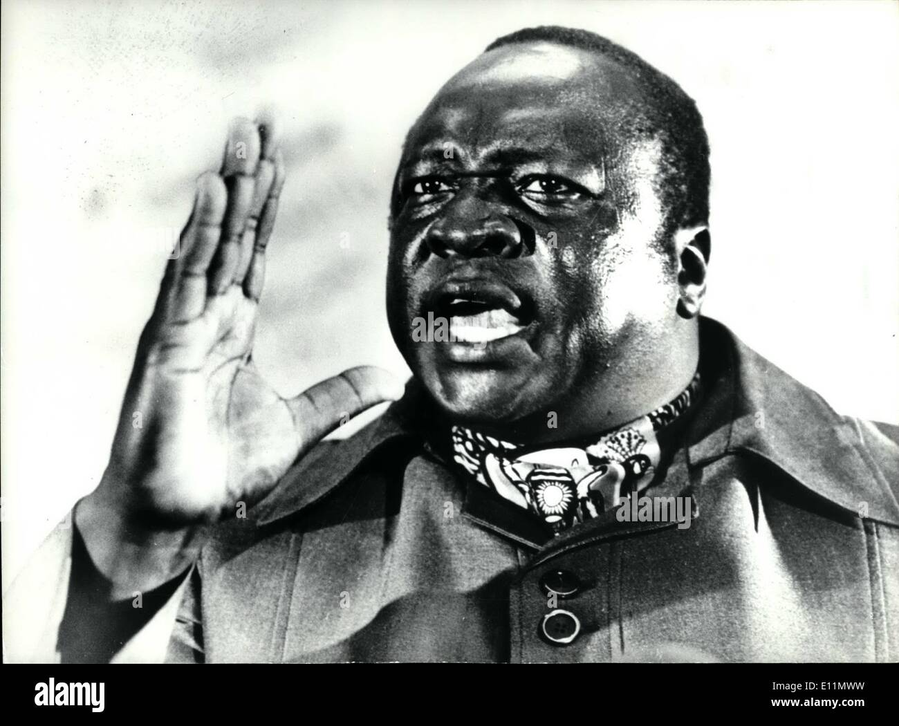 Mar. 03, 1979 - Invading tanks cut off Amin: It was reported today at President Amin and some of his Army Officers had been trapped in Entebbe by Tanzanian tanks. The tanks are said to control the road to the Ugandan capital of Kampala 21 miles away. Photo Shows President Amin who is said to be planning a counter-attack against the invaders. - Stock Image