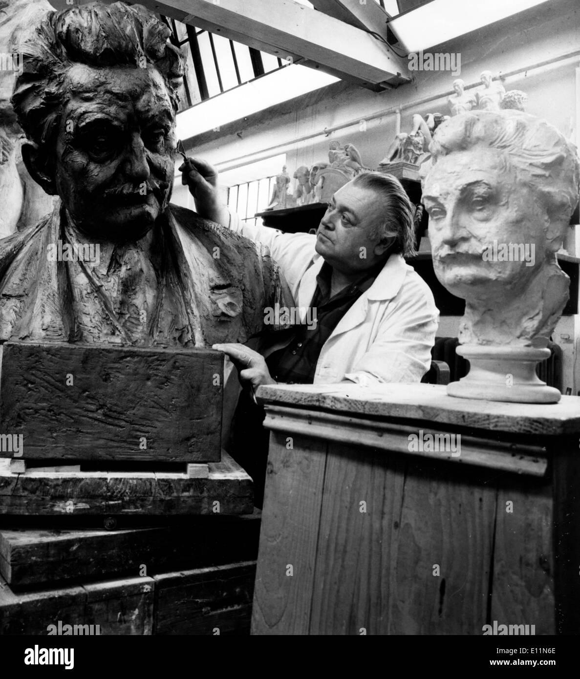 Jun 15, 1979; Moravia, Czech Republic; Academic sculptor Professor Milos Axman, Czechoslovak artist of Merit, has Stock Photo
