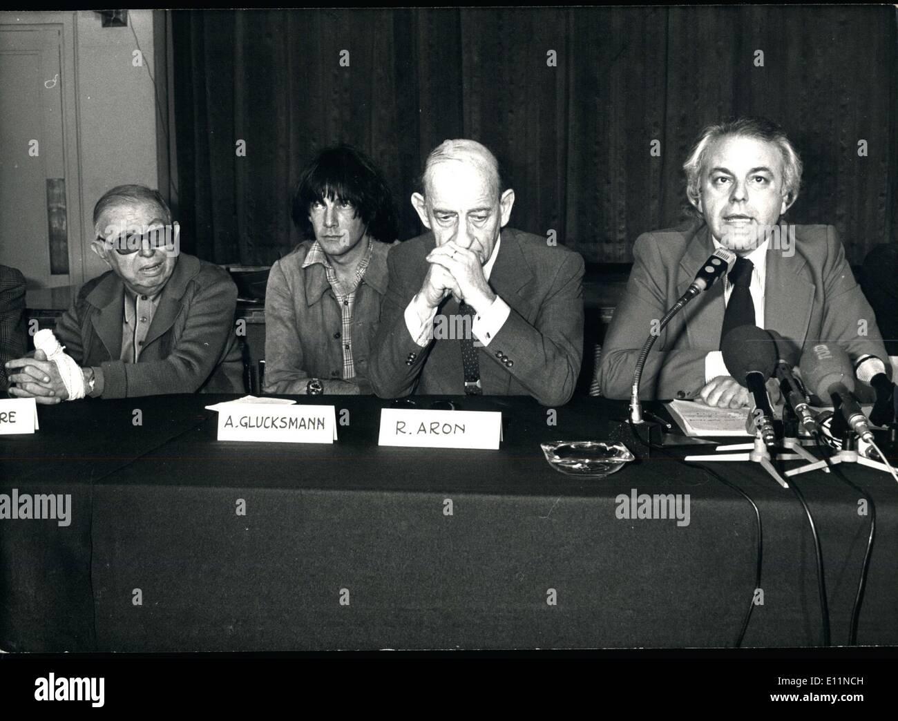 Jun. 21, 1979 - Jean Paul Sartre, Andre Glucksman, R Aron,M Bettati - Stock Image