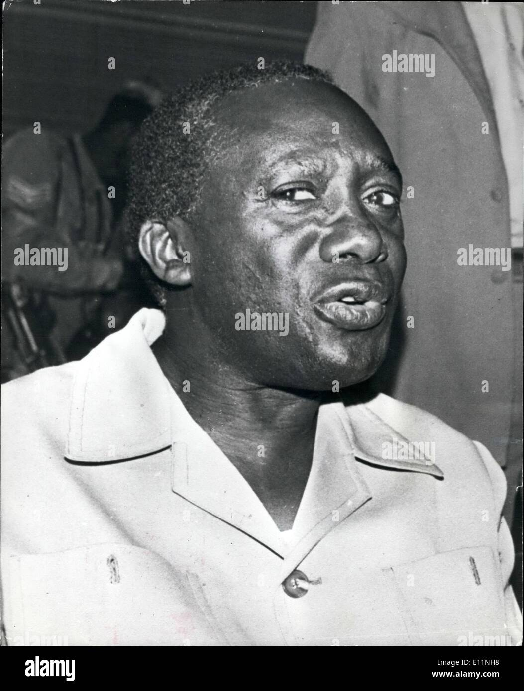 Apr. 04, 1979 - President Lule of Uganda calls elections: President Yusuf Lule, the new Head of State of Uganda, redeems his pledge to restore democracy to Uganda. In a Kamapala radio broadcast announcing local elections in areas around the Capital. - Stock Image