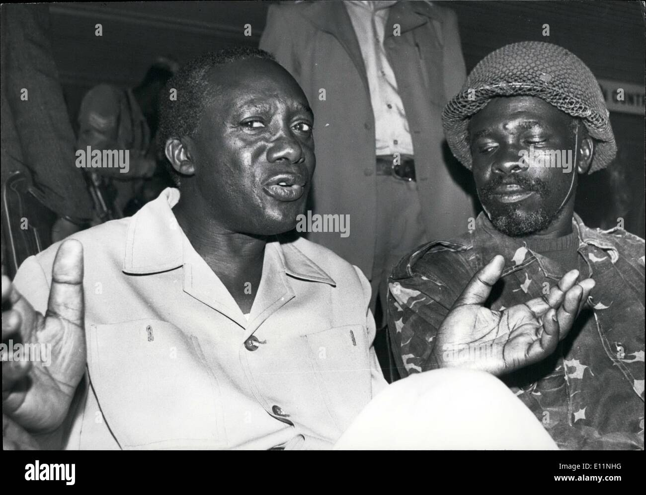 Apr. 04, 1979 - President Yusuf Lule, the new Head of State of Uganda with his new Chief of Staff, Lt. Col. David Oyite-Ojok. Credits: Camerapix - Stock Image