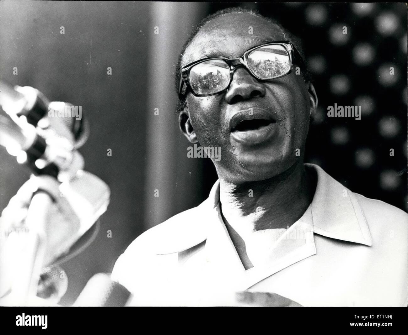 Apr. 04, 1979 - Lule Uganda: Yusuf Lule, The New President of Uganda. He is addressing here at Parliament buiildings after being sworn-in as Head of State. Credits: Camerapix - Stock Image