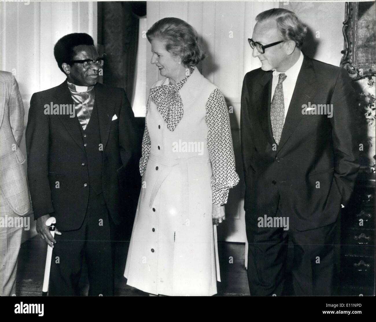 Jul. 07, 1979 - Muzorewa meets Mrs Thatcher. Bishop Abel Musorewa had a meeting this afternoonat No 10 downing street with the Prime Minister Mrs Thatcher .The Prime Minister of Zimbabwe is in Britain to ask the British Government to lift sanctions from his country. Photo shows Bishop Muzorewa during his meeting with Mrs Thatcher and the British Foreign Secretary Lord Carrington at No 10 today. - Stock Image