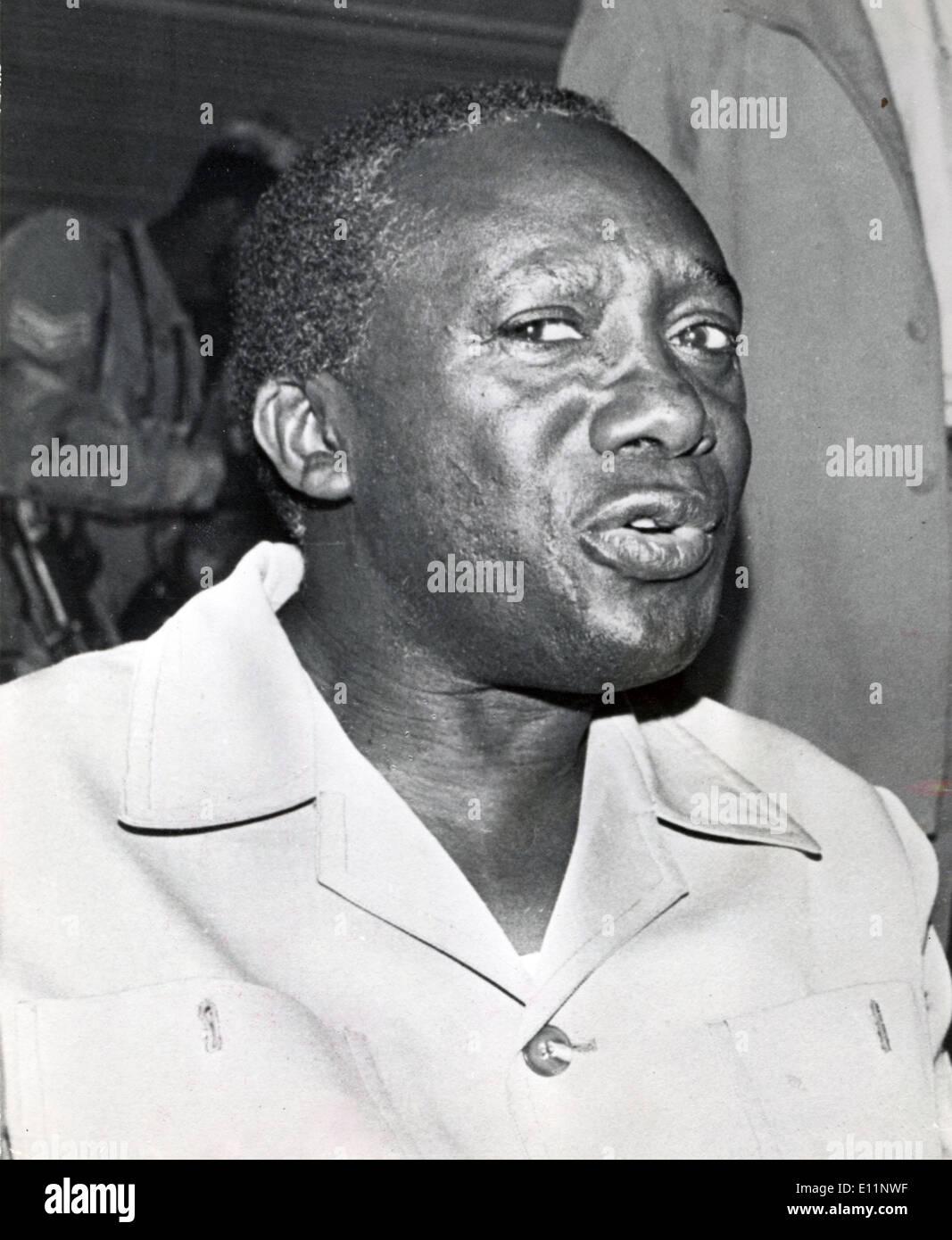Apr. 20, 1979 - Kampala, Uganda - President of Uganda YUSUF LULE pledges to restore democracy to Uganda via Kampala radio broadcast. - Stock Image