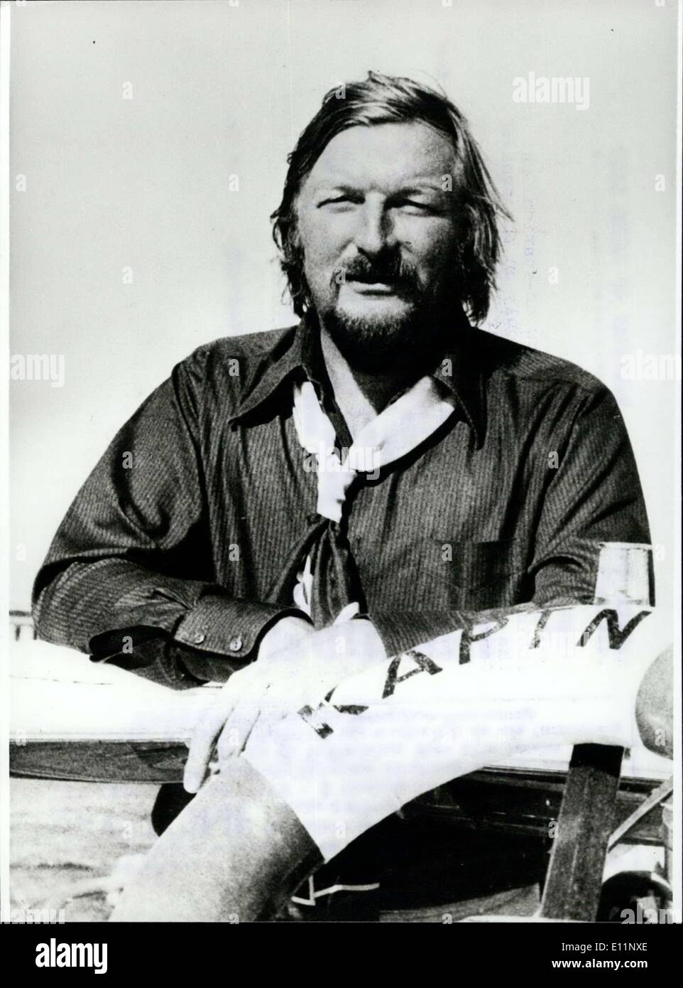 Apr. 27, 1979 - April 27th 1979: 50. Birthday of James Last. Captain James... ..., at the rudder of his sailing yacht. He is also masterly like at the conductor desk, or with the bass, the instrument which James Last plays since his youth. His career is one of the most remarkable in the history of the show business. The popularity of the band leader, arranger and composer is as great as the enthusiasm of his audience of the concerts in Great Britain, Australia, USSR, Canada and the Far East - Stock Image