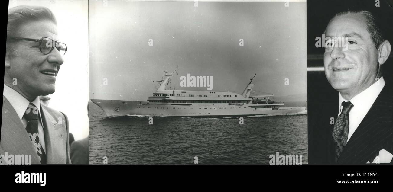 May 05, 1979 - Sale of Yacht ''Atlantis'': The under Liberian flag luxurious yacht of the grater of Greek ship owner Mr. Niarbos, was sold to another great ship owner Mr. Latsis, at the price of 2,000,000. The yacht was formed by the world famous Swiss firm in Ayerform, build in Skaramag ship yards (located 10 miles far from Athens), in 1973, and it is considered as luxurious as the Onassis yacht ''Christine'' which belongs to the Greek navy now. It's construction's cost was 10,000,000 $ the crew is 51 individuals, has 22 cabins and has flatform for helicopters landing as well - Stock Image