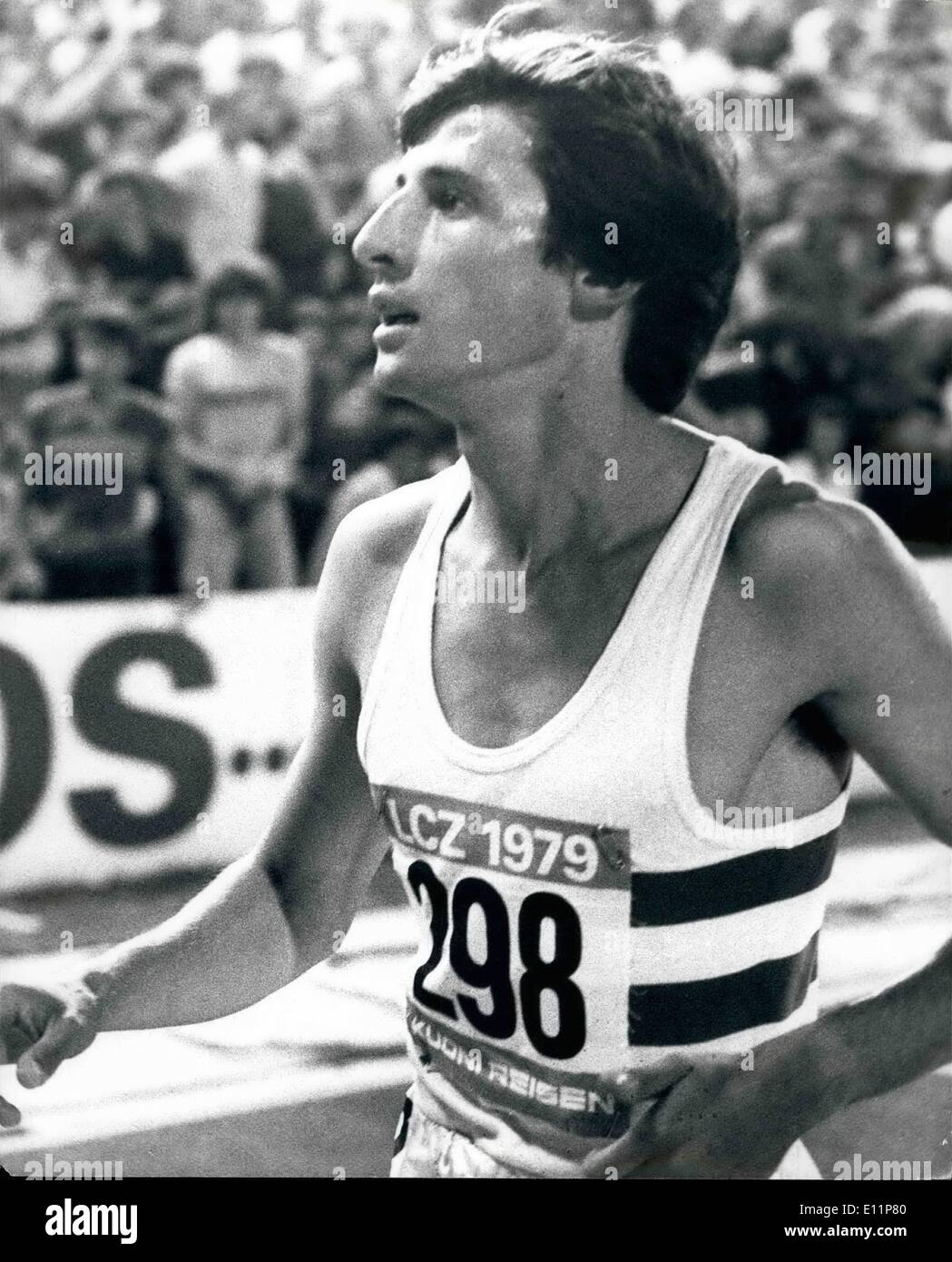 Aug. 08, 1979 - SEBASTIAN COE SMASHES THE WORLD 1500 METRES RECORD IN ZURICH For the third time in 41 days 22-year-old Sebastien Coe broke a world record, in Zurick last night be beat an International field by 70 yards for a time of 3mins 32.03 secs to clip almost a fifth of a second off the old record set by Tanzania's Filbert Bayi five years ago. He already holds the world records for the 800 metres. and the one mile. No man in history has ever hold all three records simulrencously until now. Photo Shows: SEBASTIAN COE after his great win in Zurich last night. - Stock Image