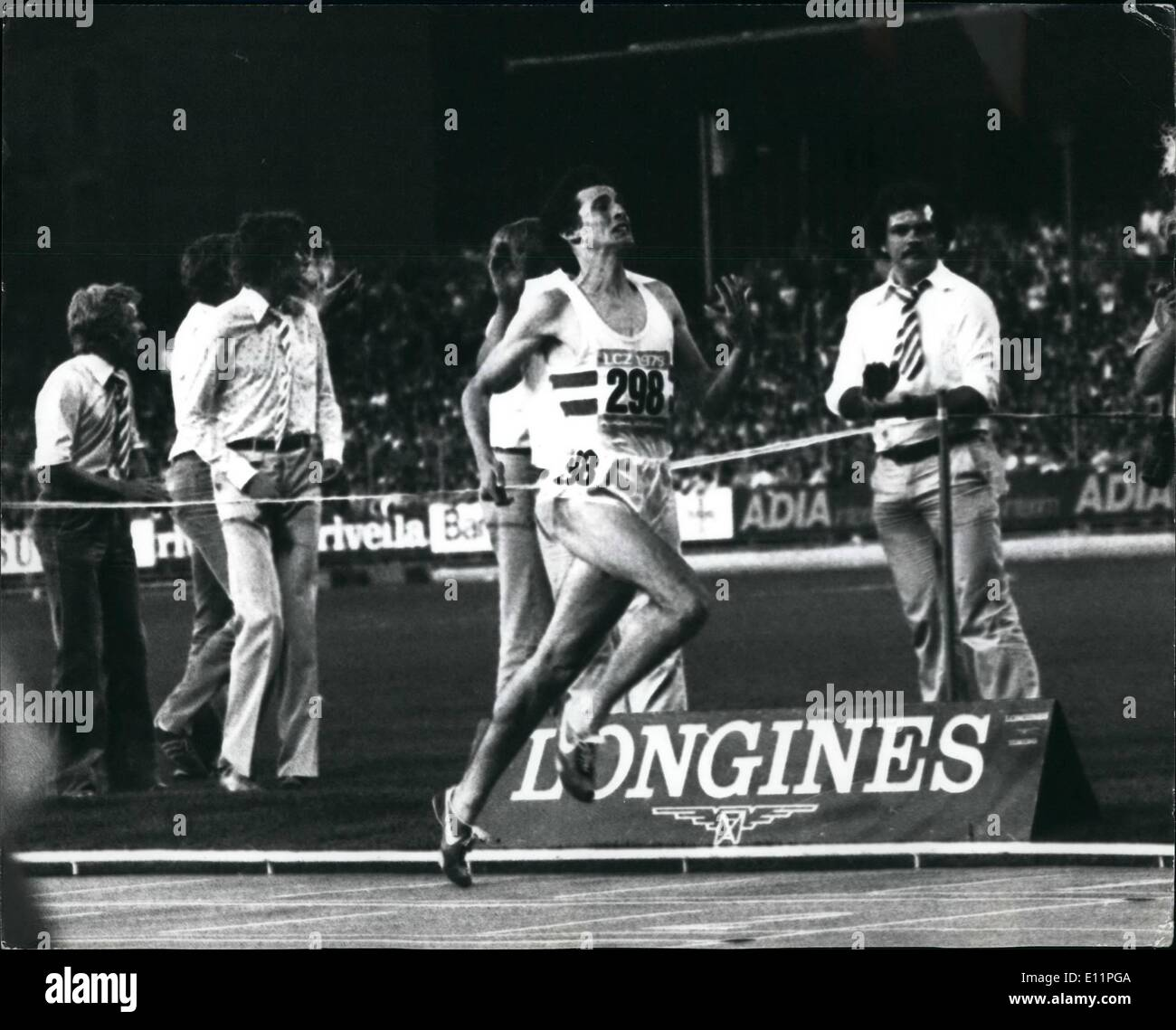 Aug. 16, 1979 - Sebastian Coe Smashes the World 1500 Metres Record in Zurich. For the third time in 41 days, 22 years old Sebastian Coe broke a world record, in Zurich las night he beat an International field by 70 yards for a time of 3 minutes 32.03 secs to clip almost a fifth of a second of the old record set by Tanzania's Filbert Bayi five years ago. He already holds the world record for the 800 metres, and the one mile. No man in history has ever held all three records simultaneously until now. OPS: Sebastian Coe comes up to the finish in the 1500 metres in Zurich last night. - Stock Image