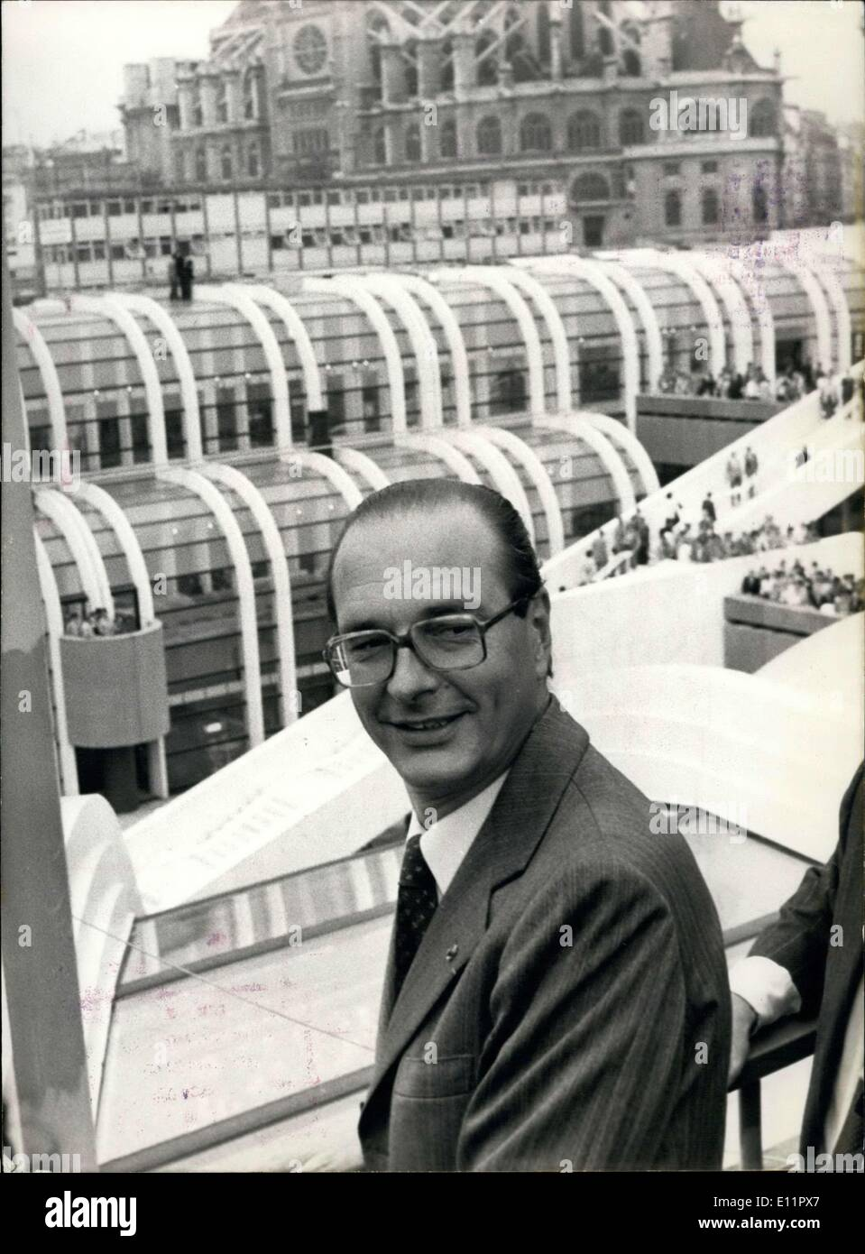 Sep. 04, 1979 - Mayor of Paris, Jacques Chirac, officially inaugurated the Halles Forum at the heart of the capital. - Stock Image